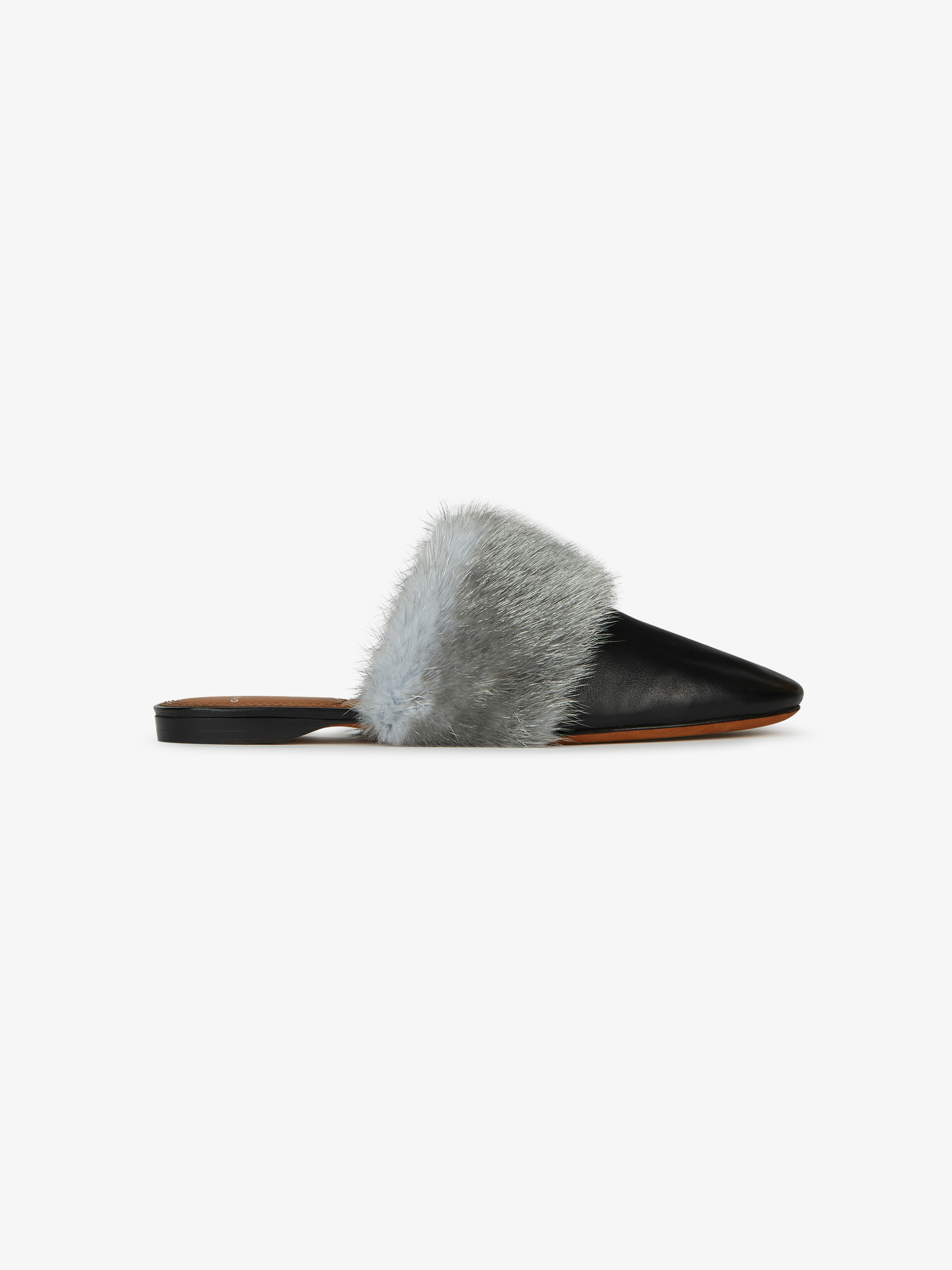 Leather and mink mules