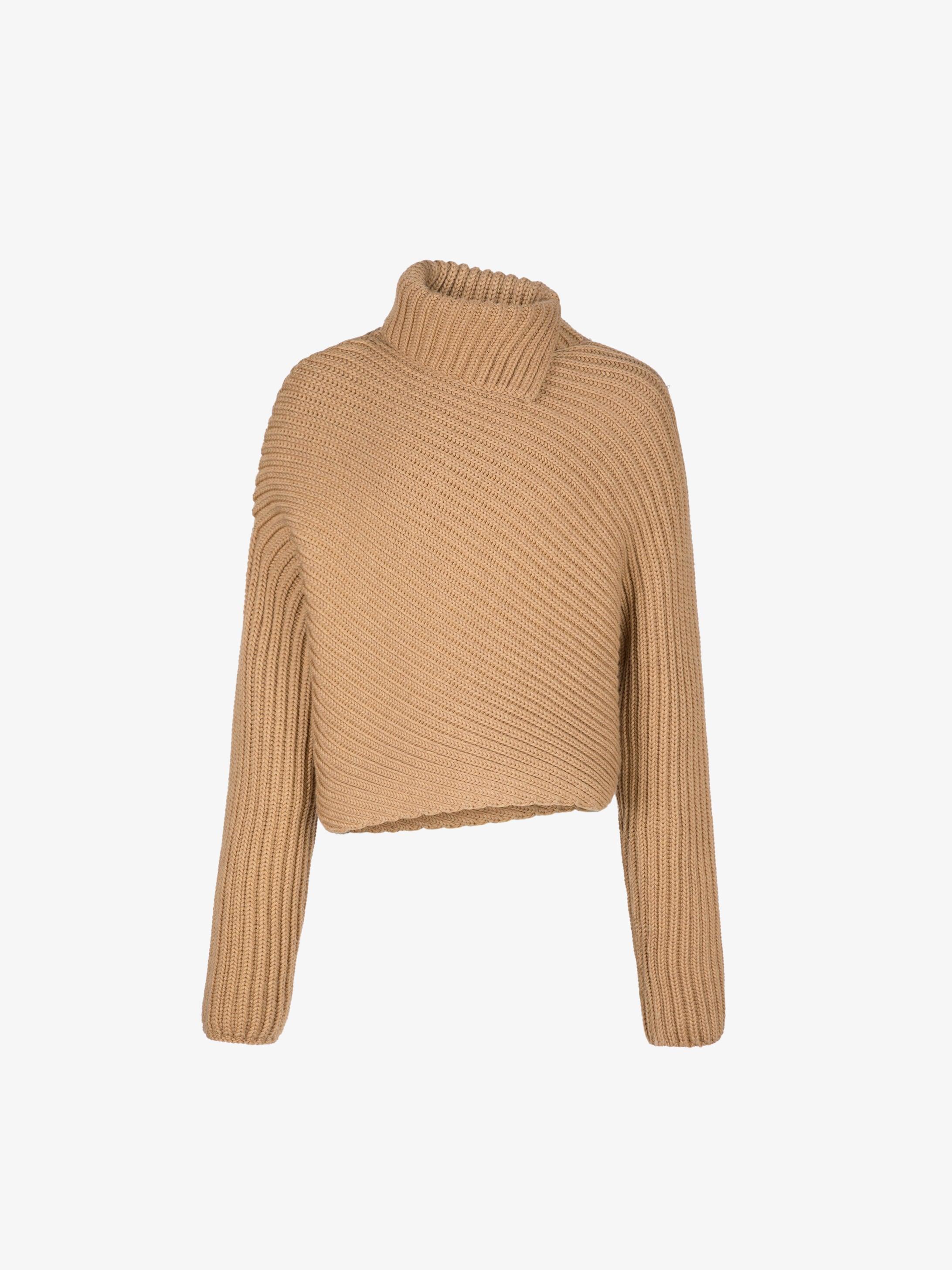 Asymmetric turtleneck sweater in merino