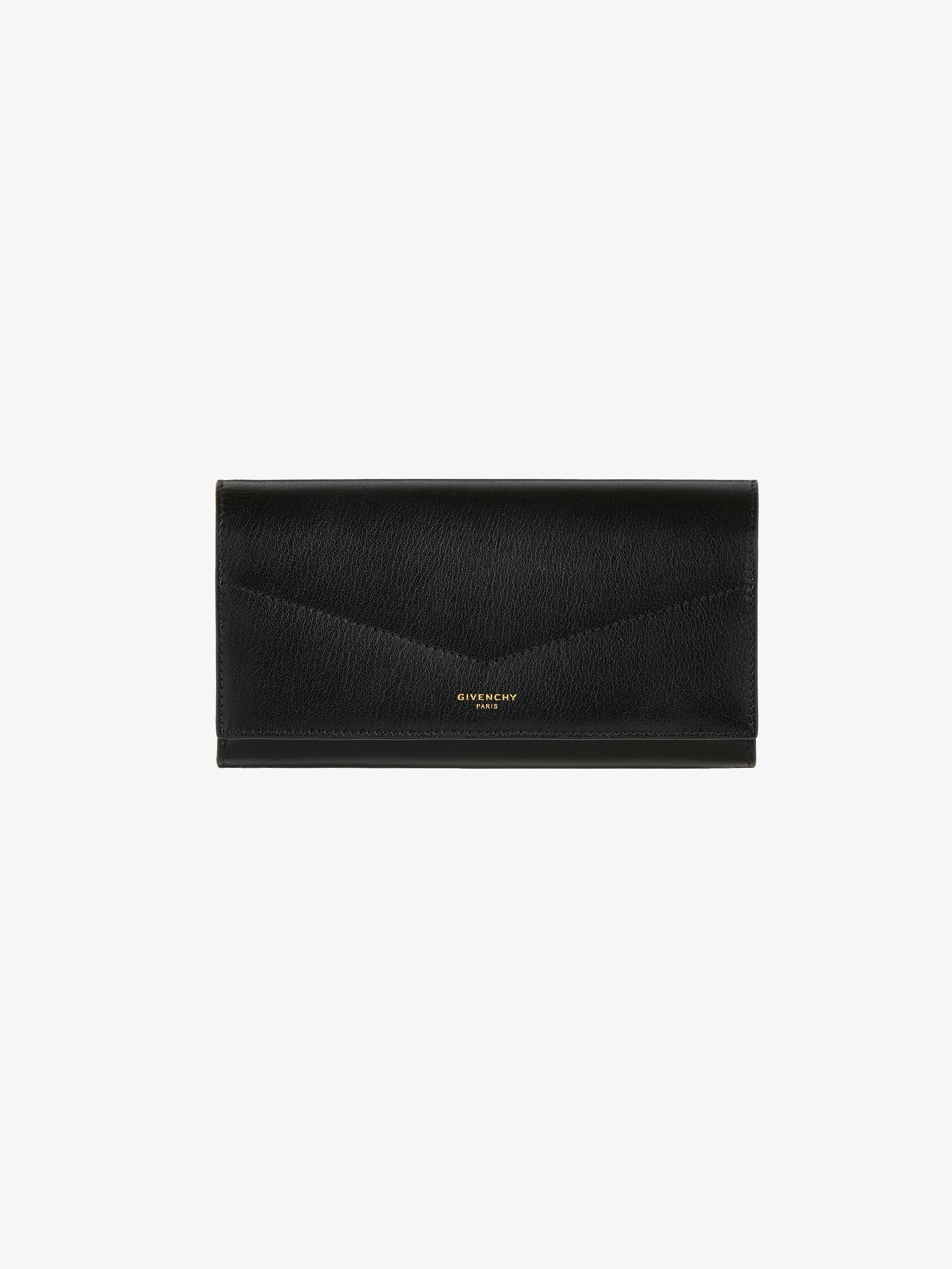 Long flap wallet in leather