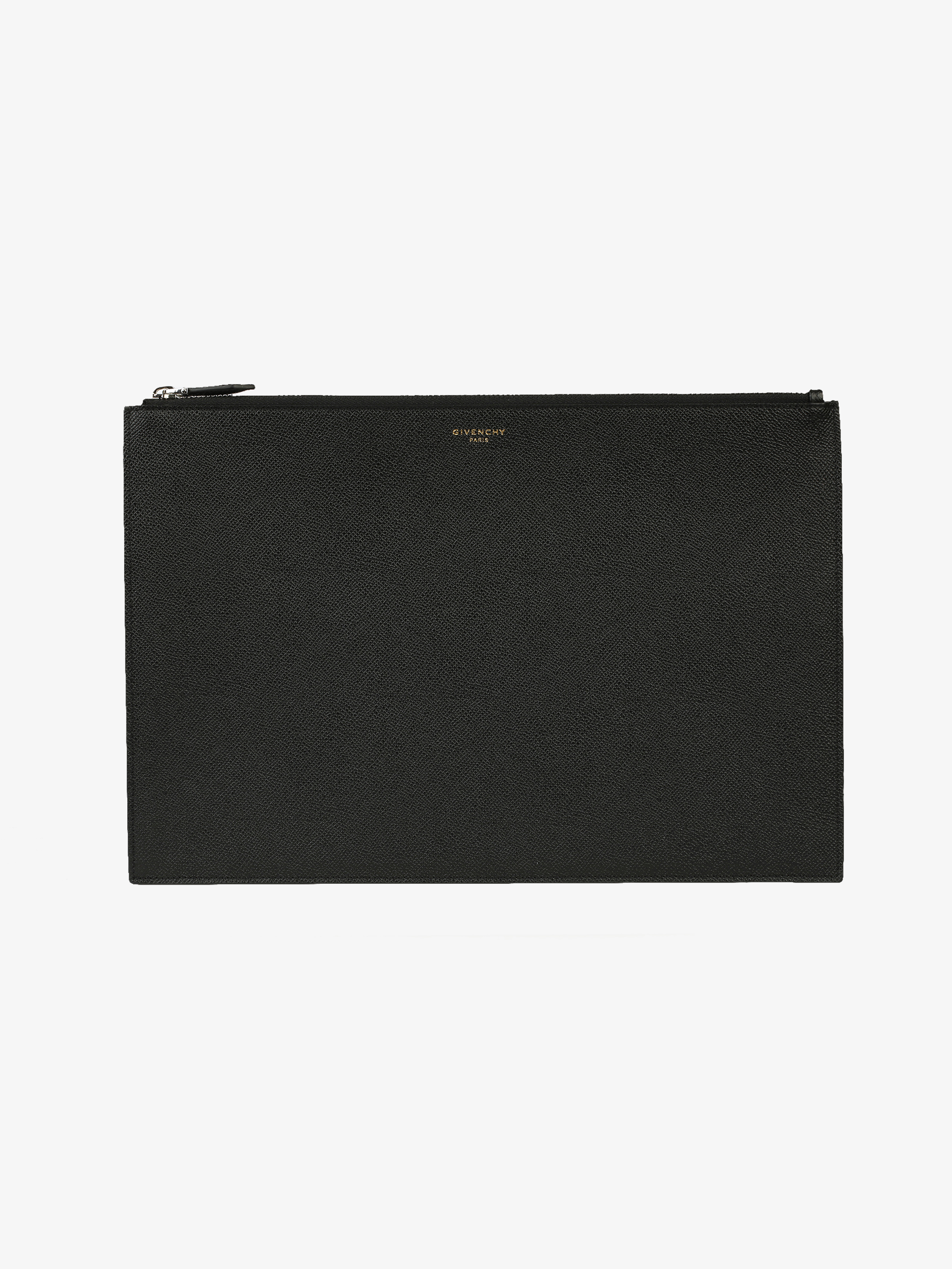 Large pouch in grained leather