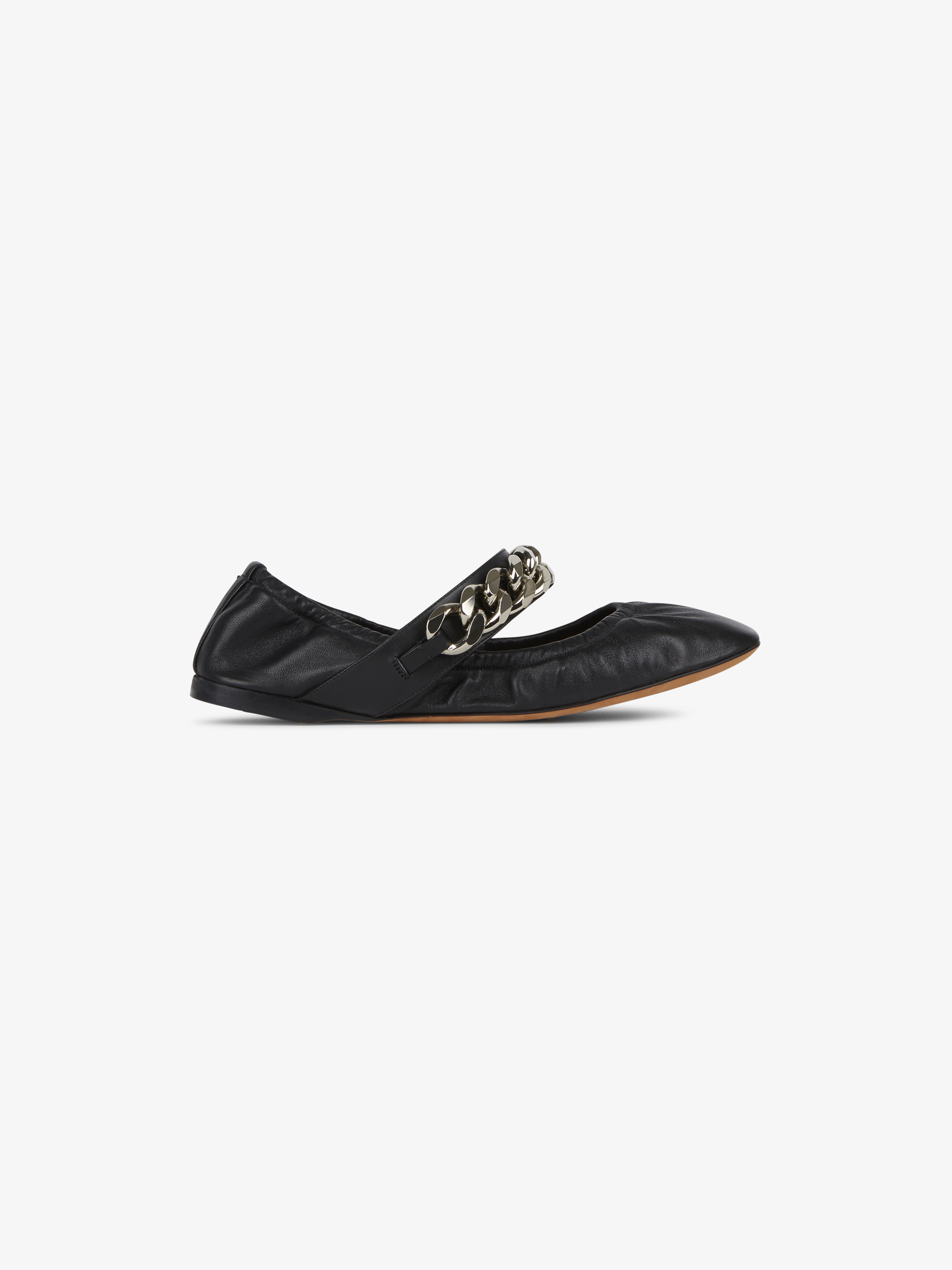 Chain soft leather ballerinas