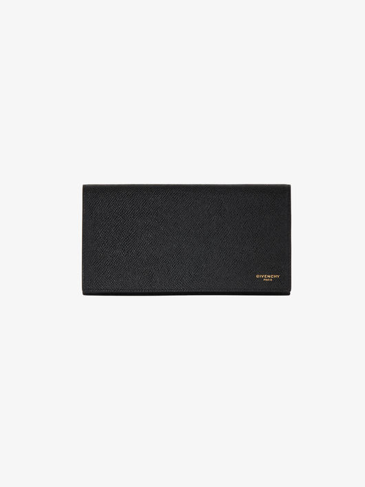Grained leather long flap wallet