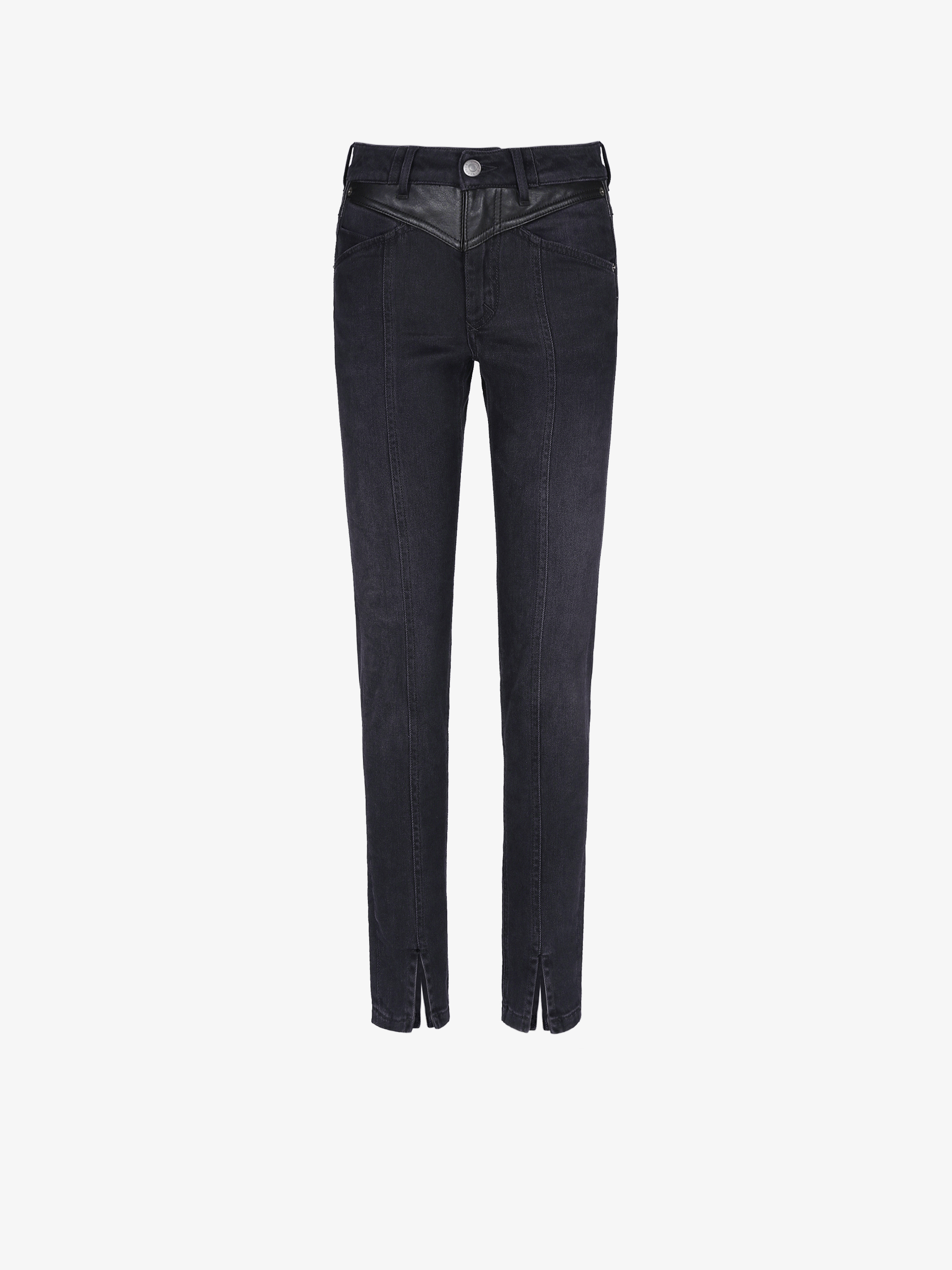 Skinny denim pants with leather details