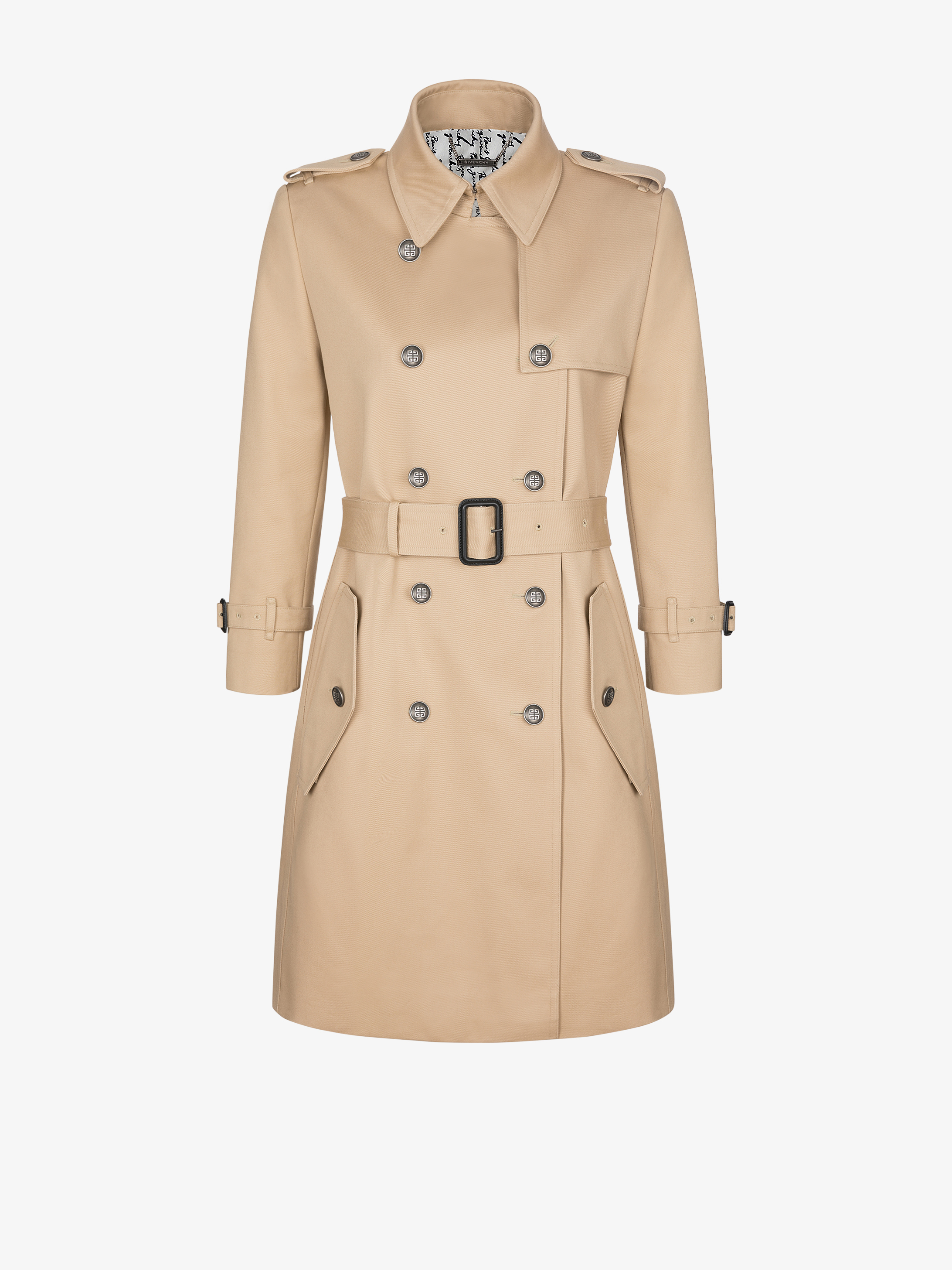 Double breast trench coat with silver 4G buttons