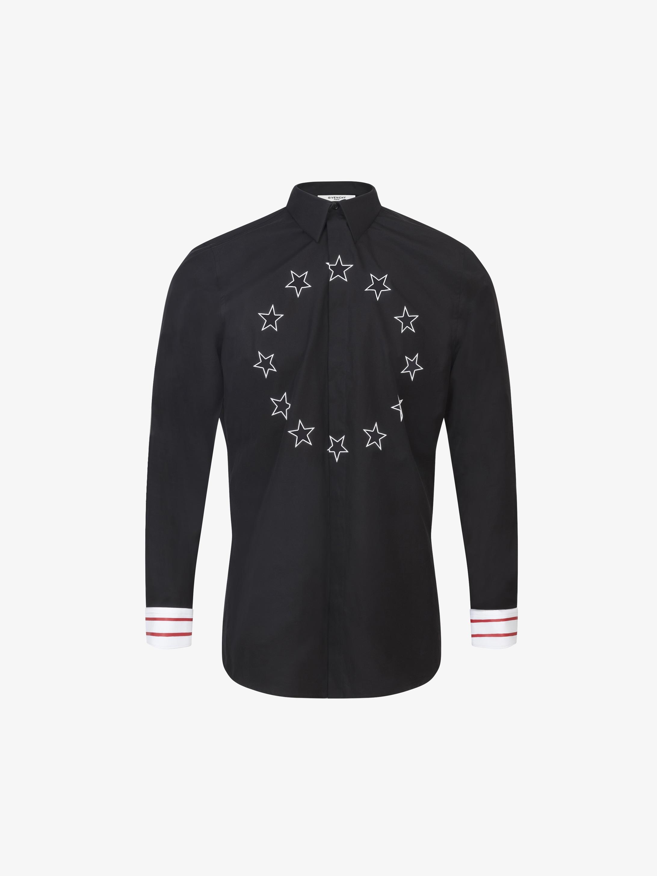 Camicia aderente con stampa a stelle