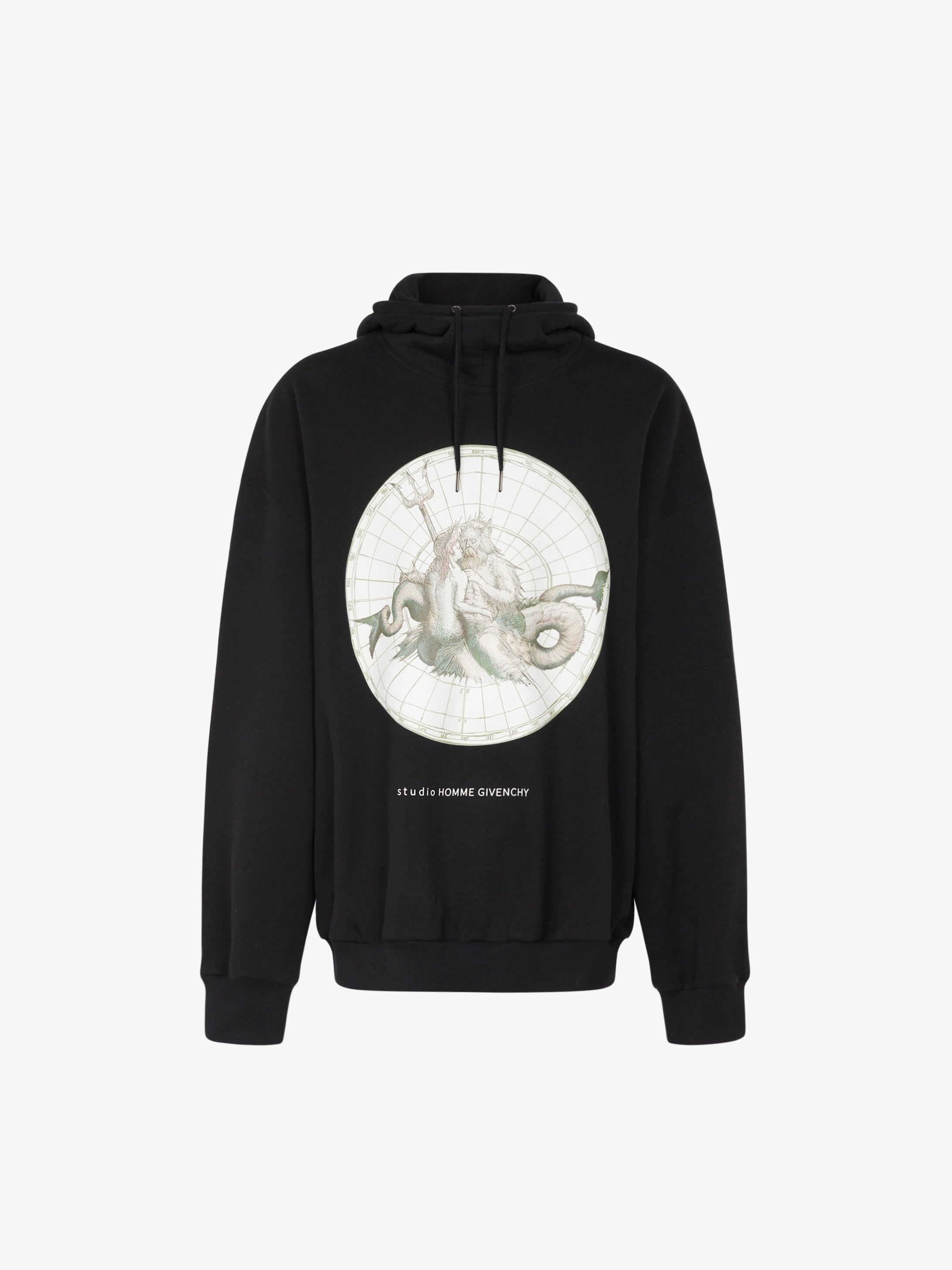 Sweatshirt à capuche oversized imprimé Poséidon