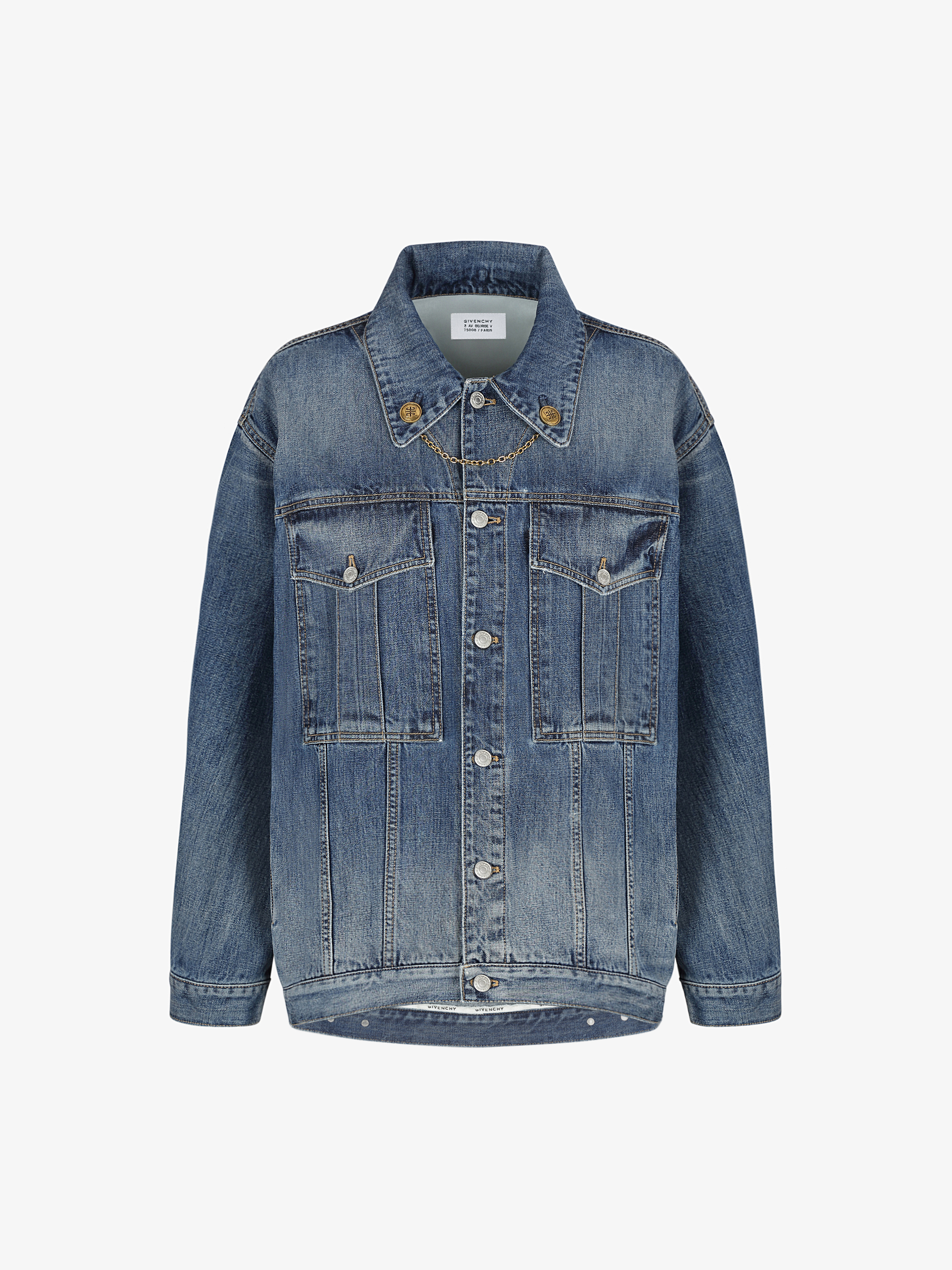 Oversized jacket in denim with chain and 4G buttons