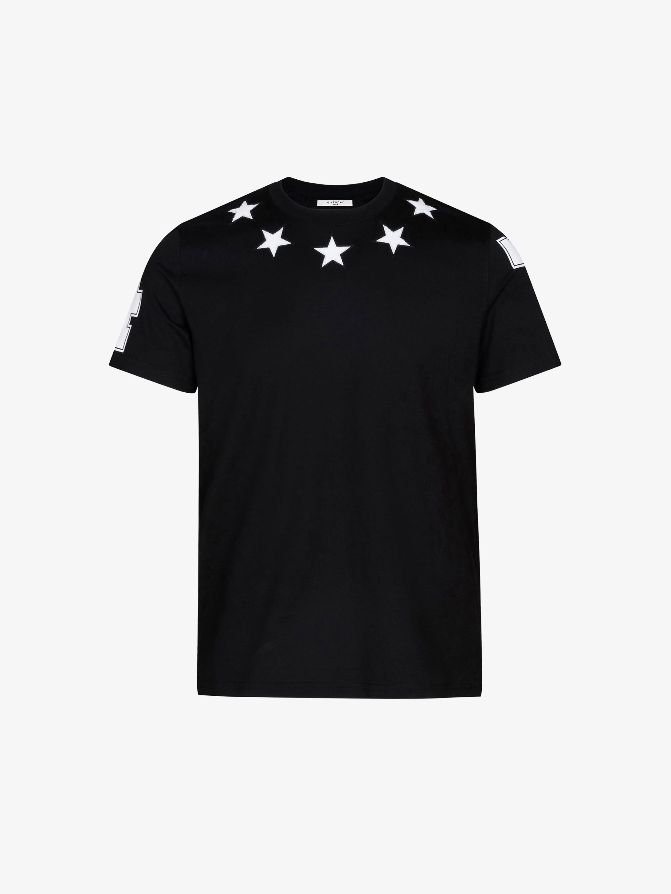 五角星、7、4图案T恤