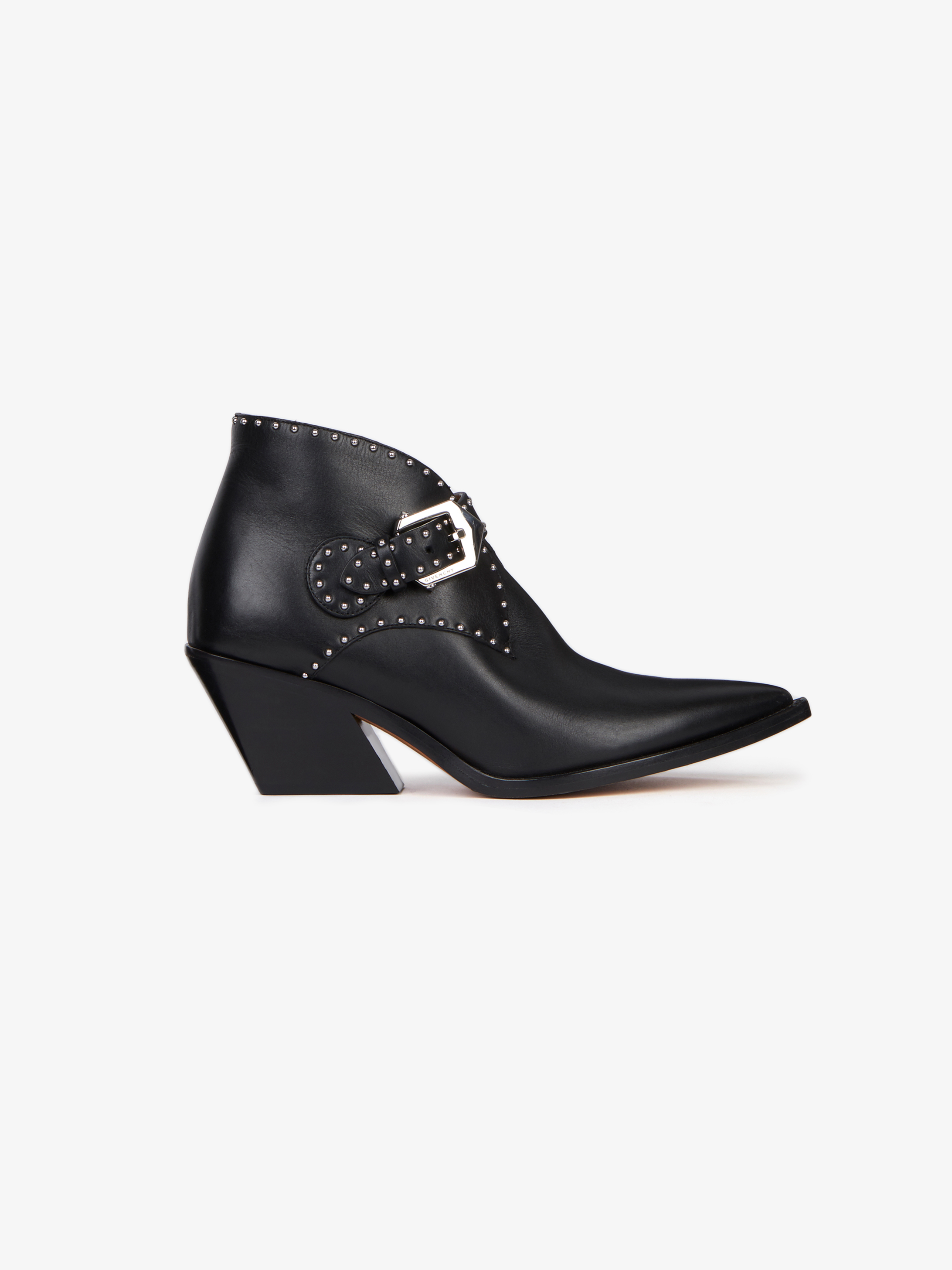 Cowboy ankle boots in leather with studs
