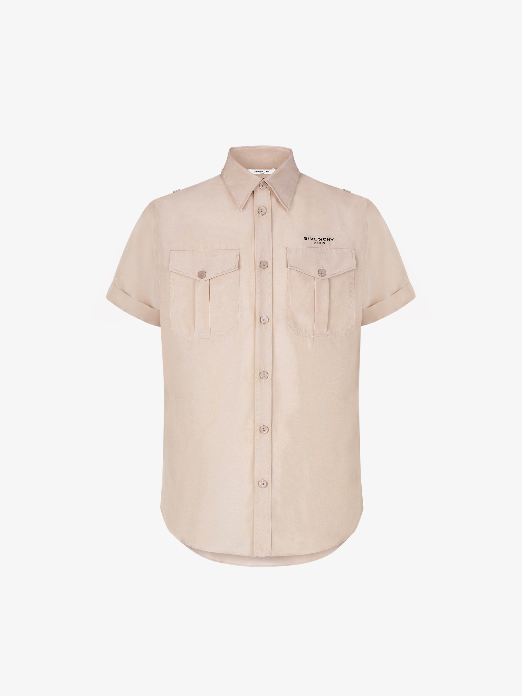 Shirt with rolled up sleeves in silk