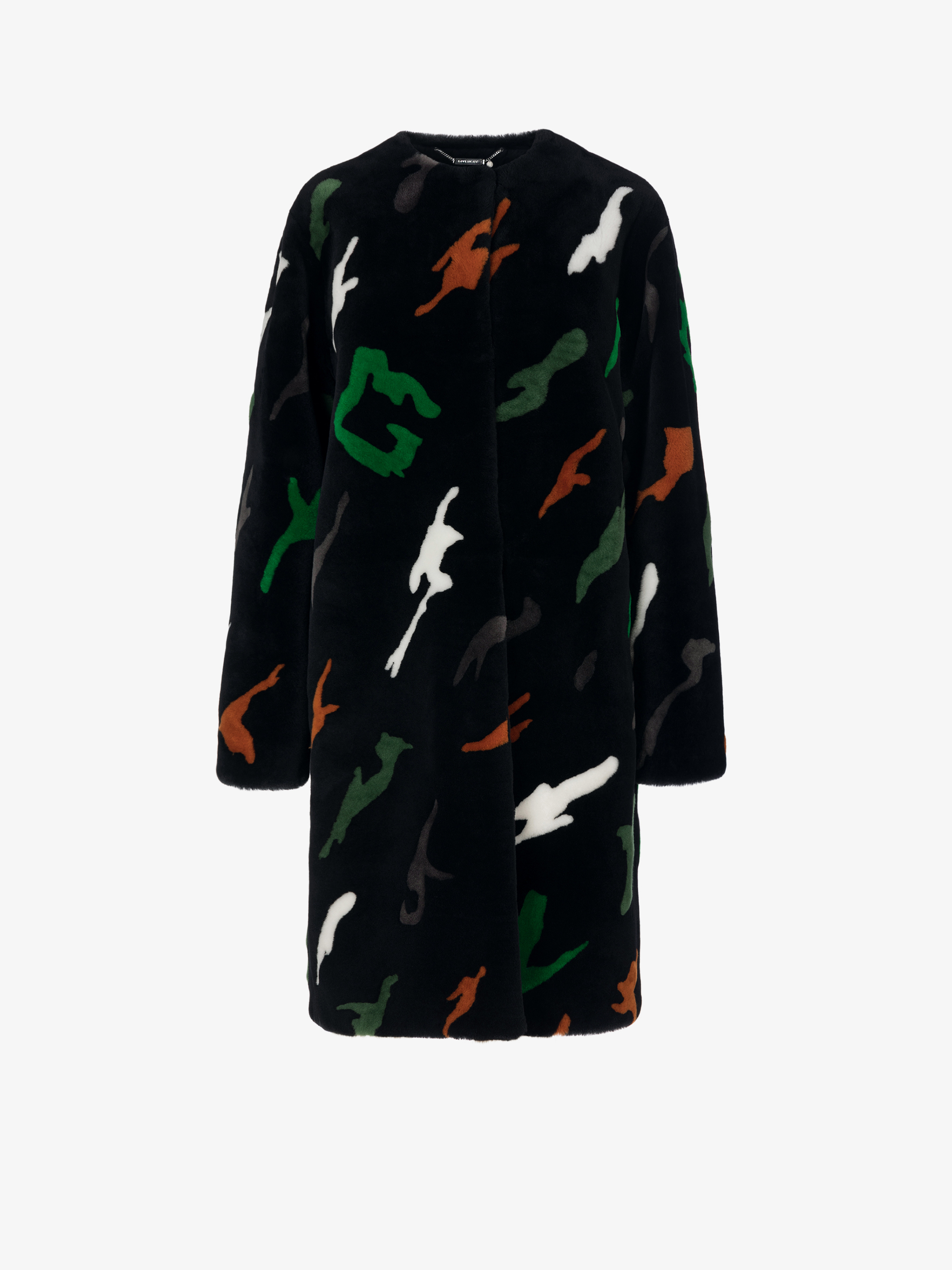 GIVENCHY camo oversized coat in shearling