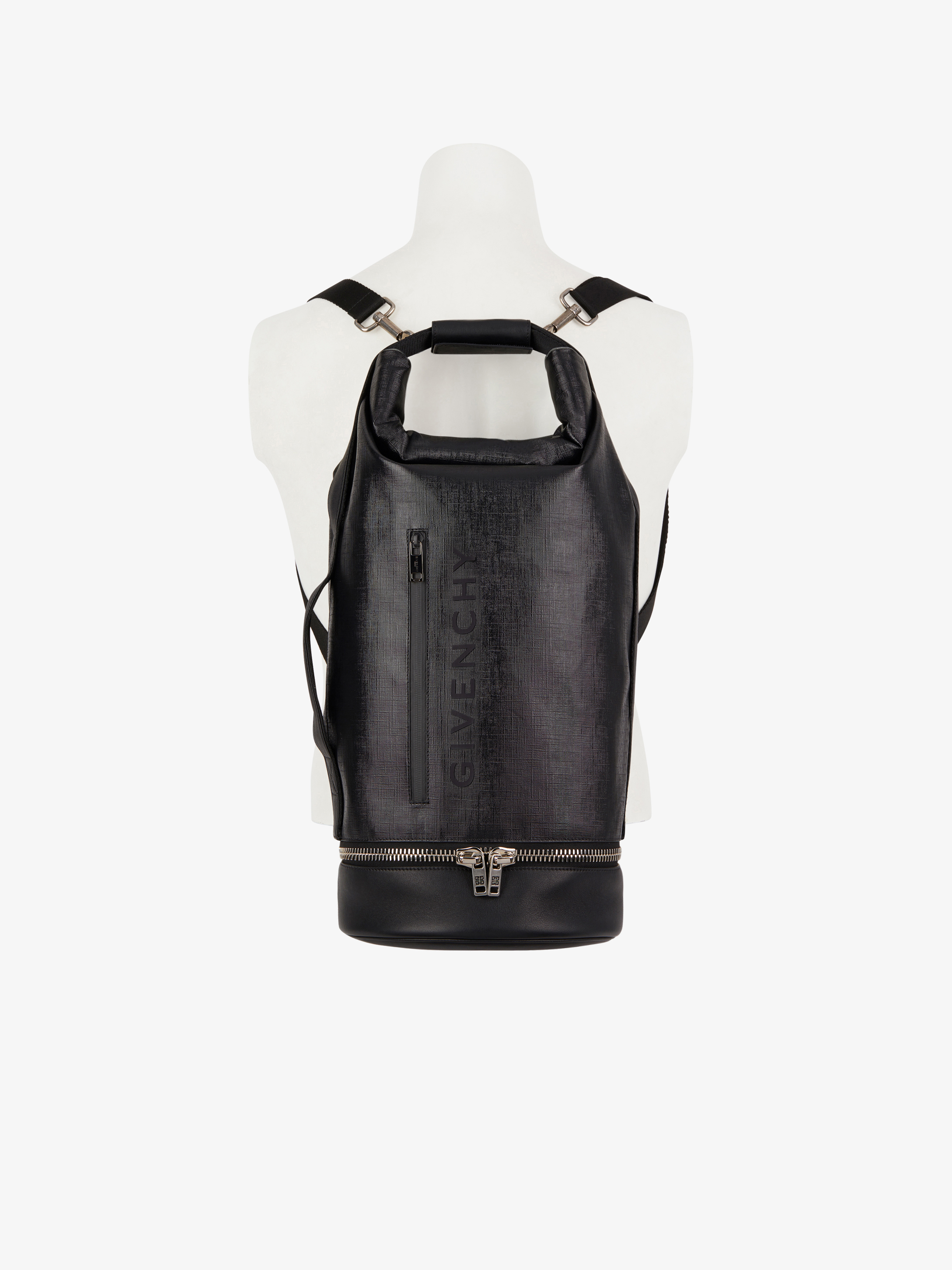 Large JAW hybrid bag in canvas and leather