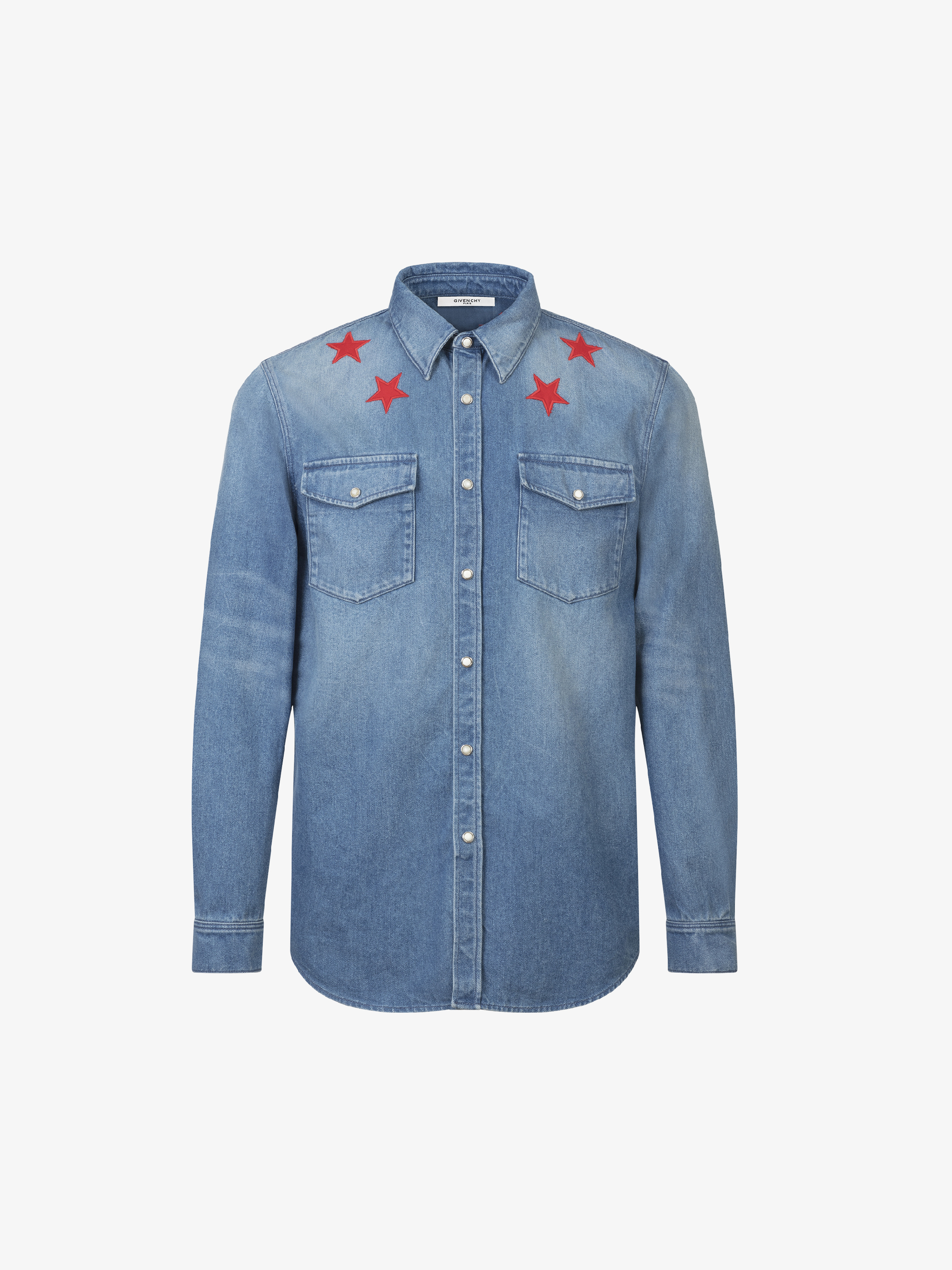 Stars shirt in stoned wash denim