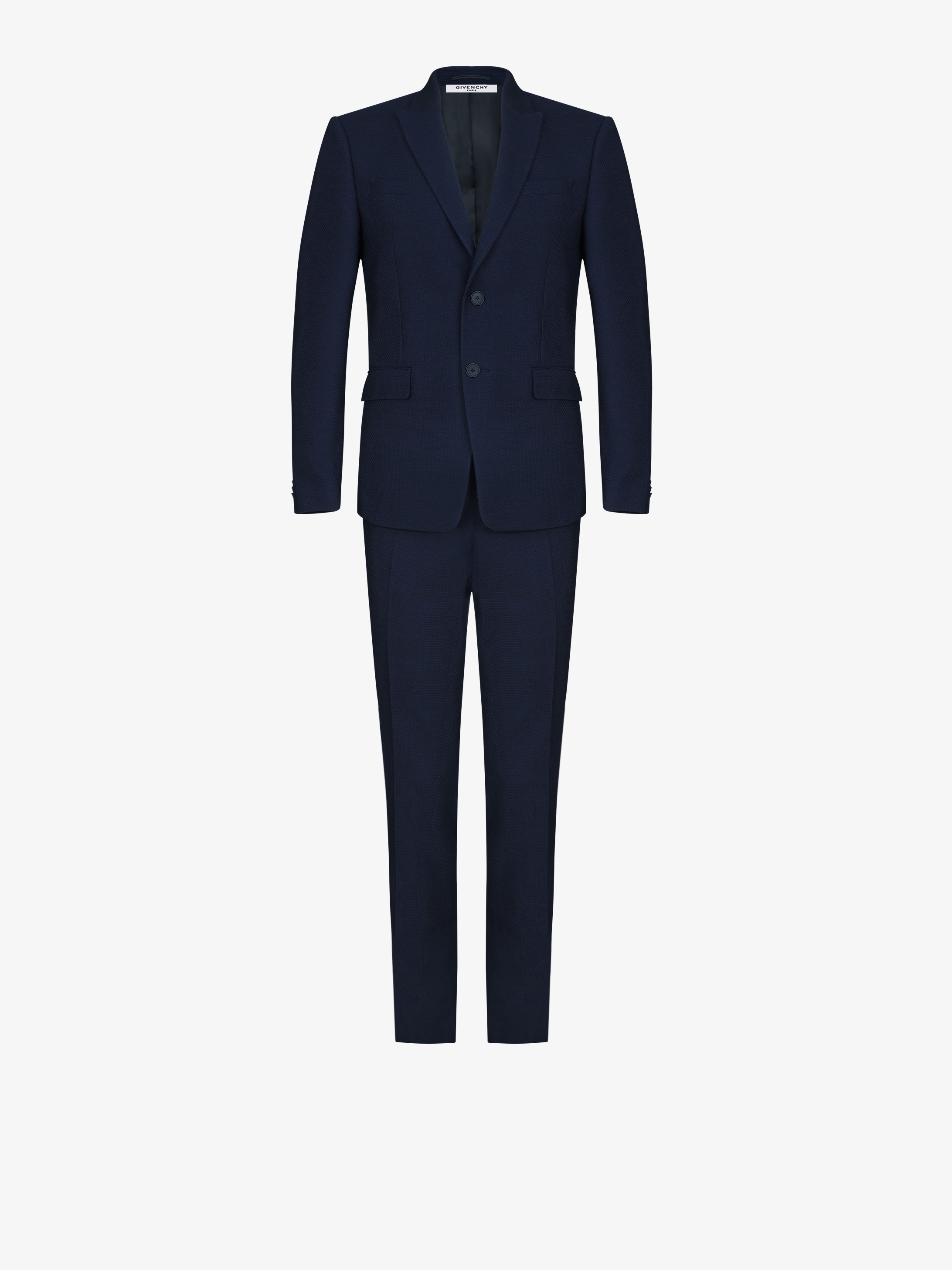 Regular fit wool jersey suit