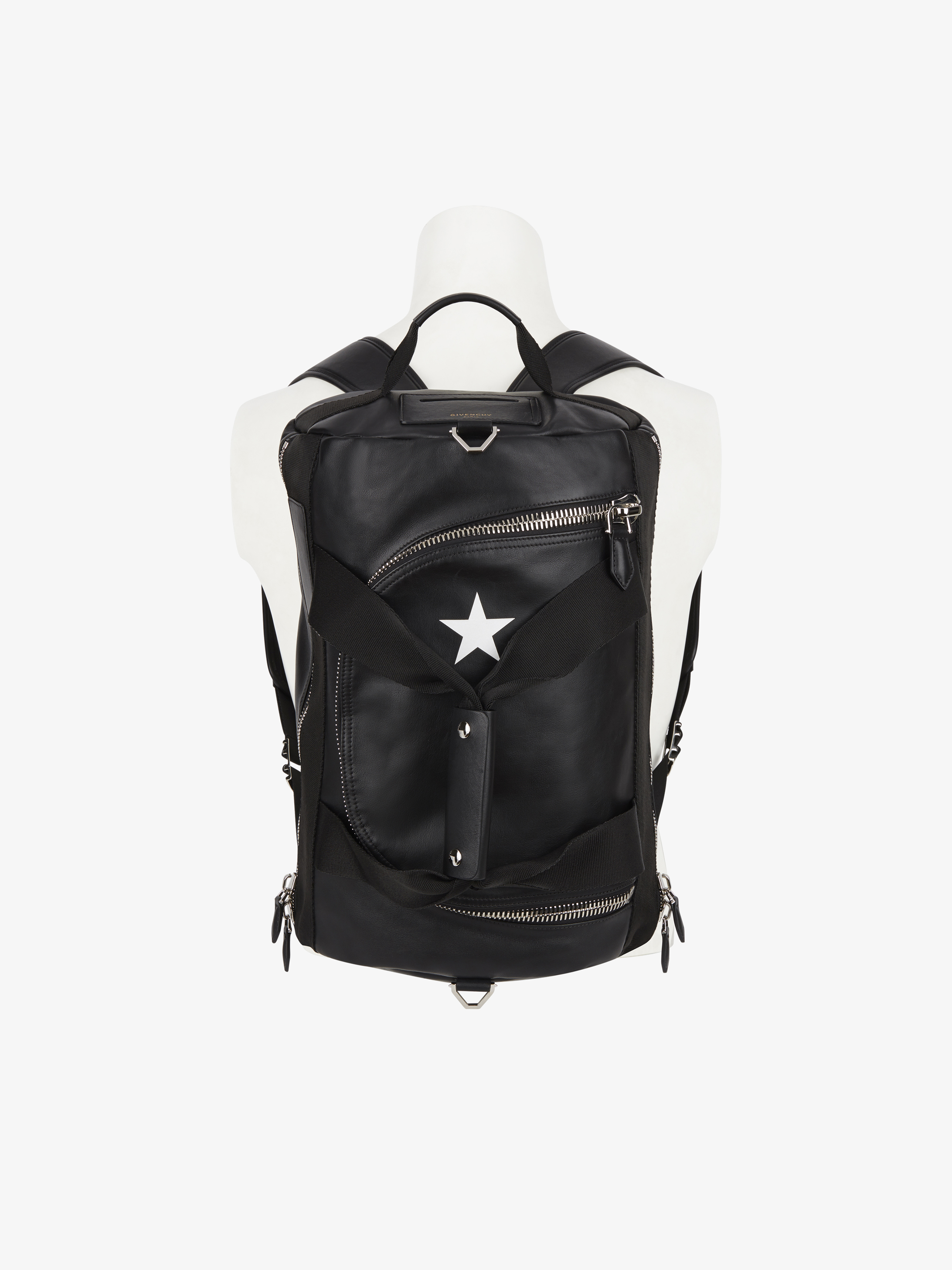 Star contrasting backpack in leather
