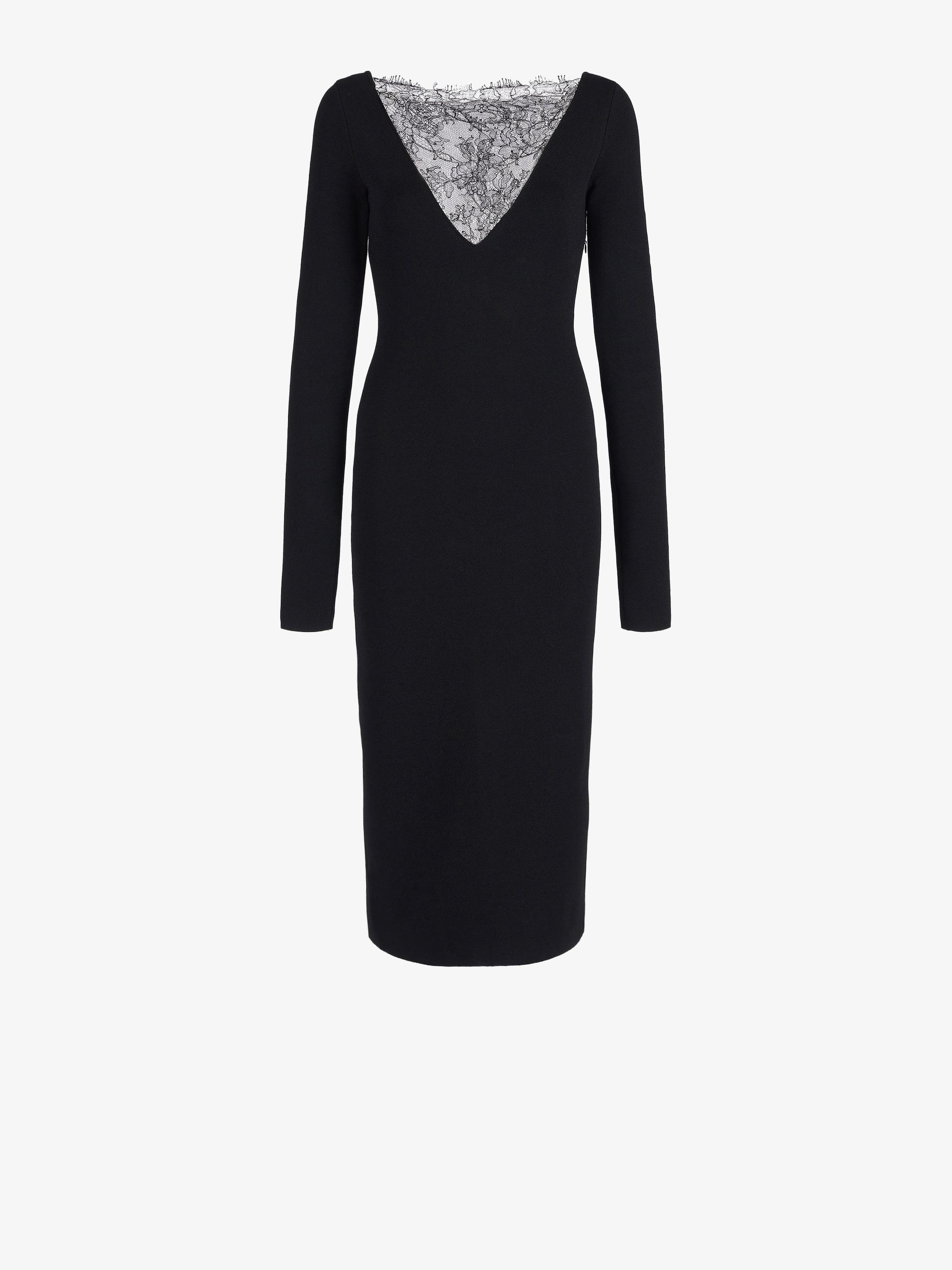 Midi dress with intarsia lace