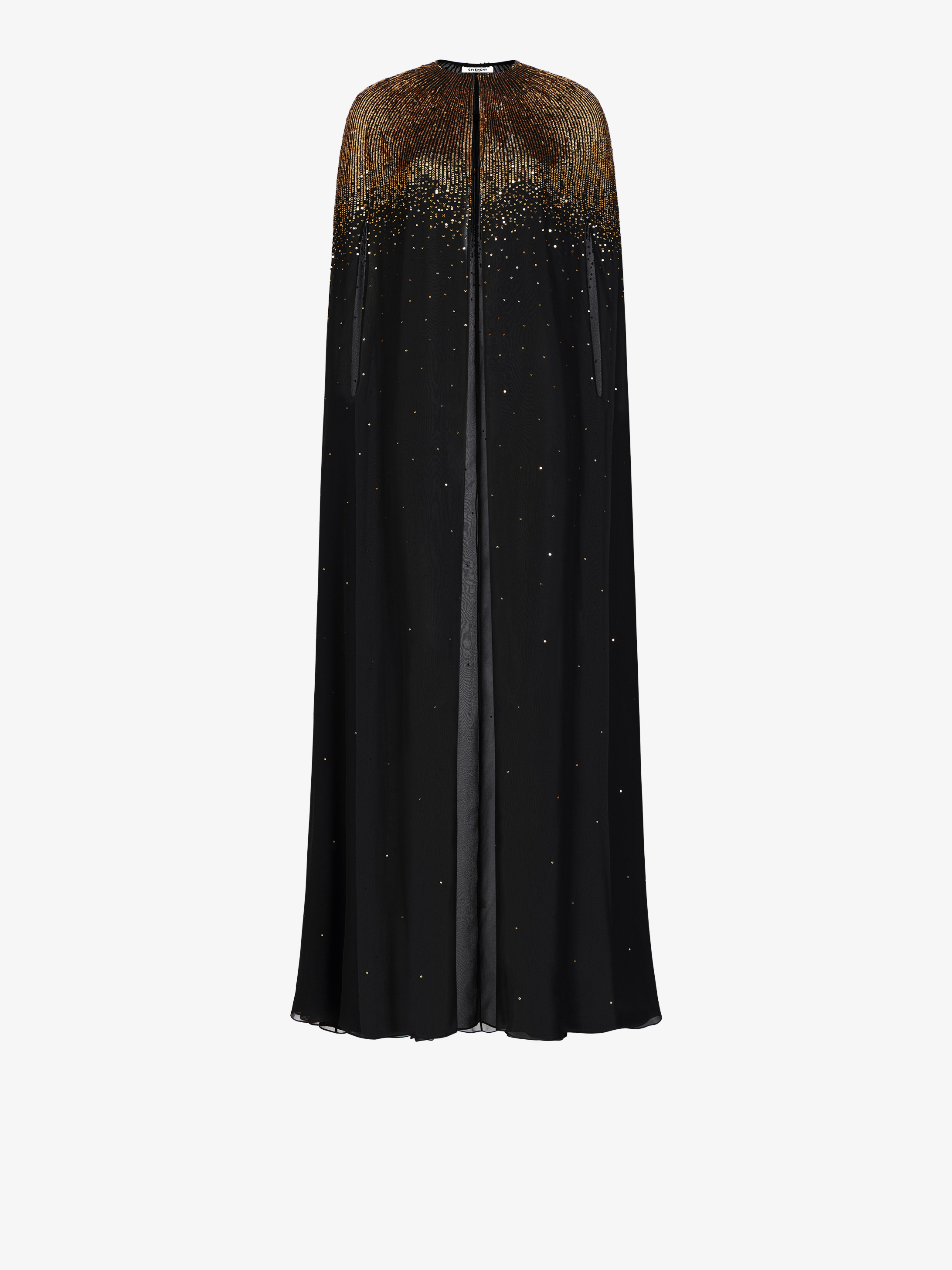Sequins embroidered evening cape in silk