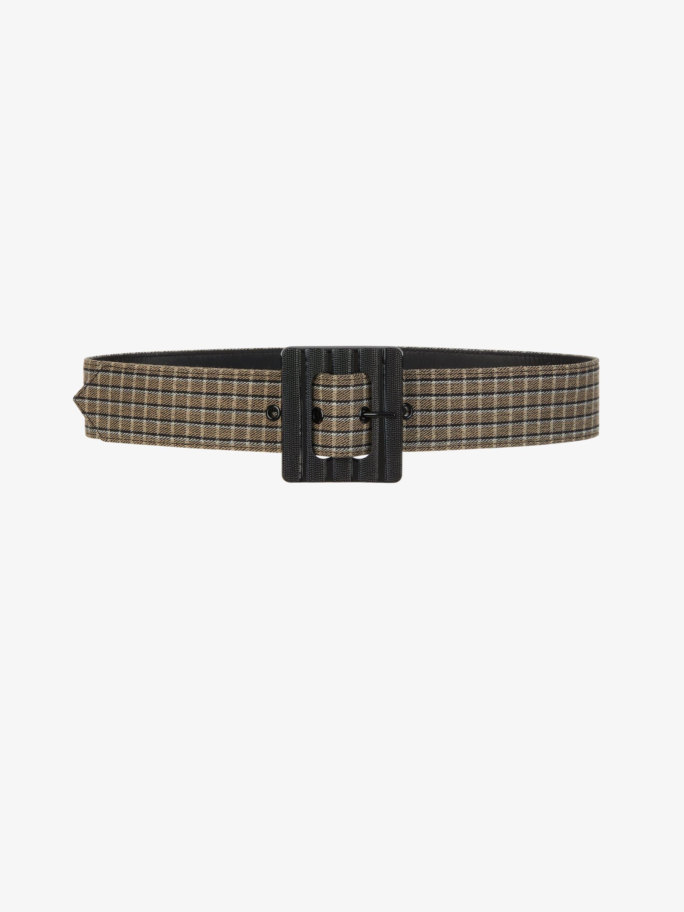 Checked wool belt