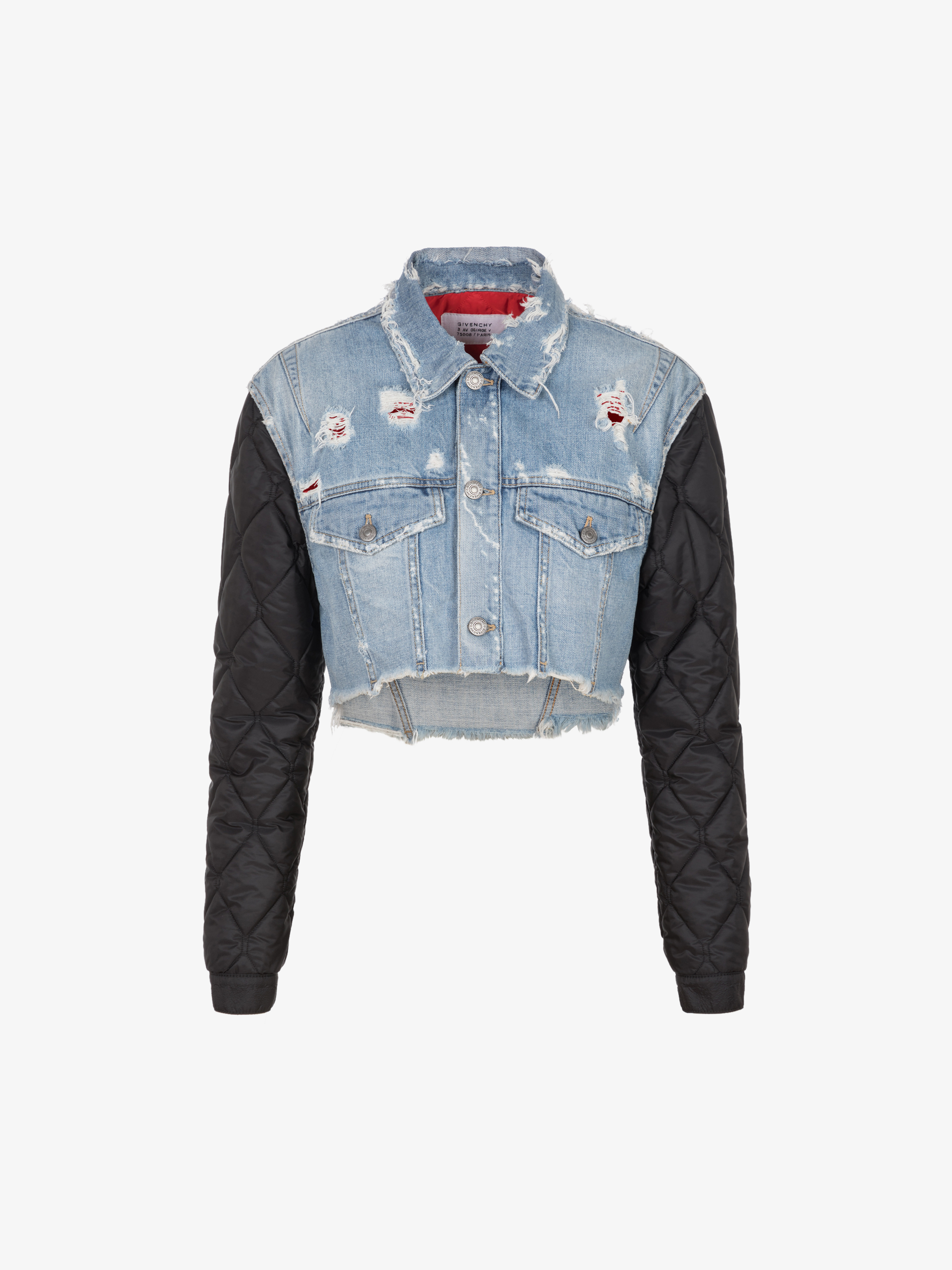 GIVENCHY short jacket in denim and quilted