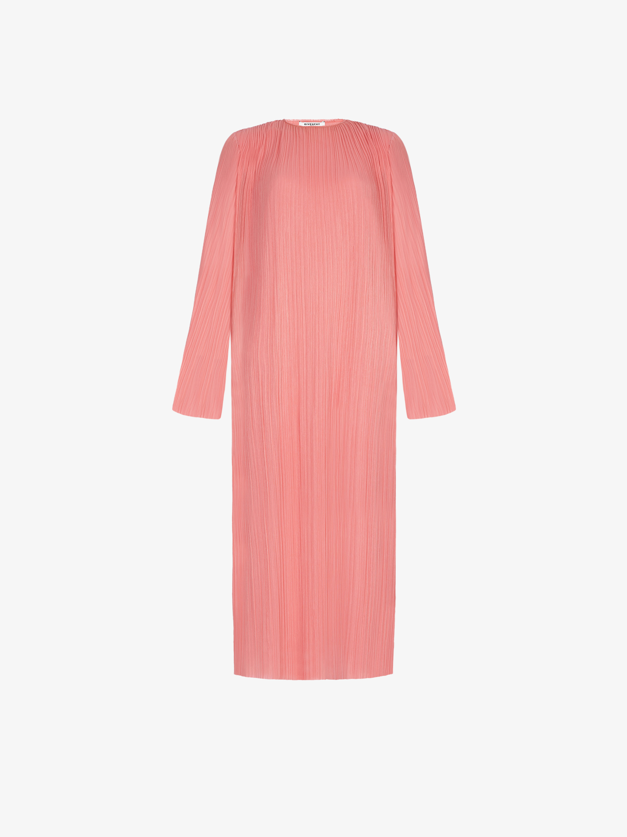 Long cocktail dress in pleated jersey
