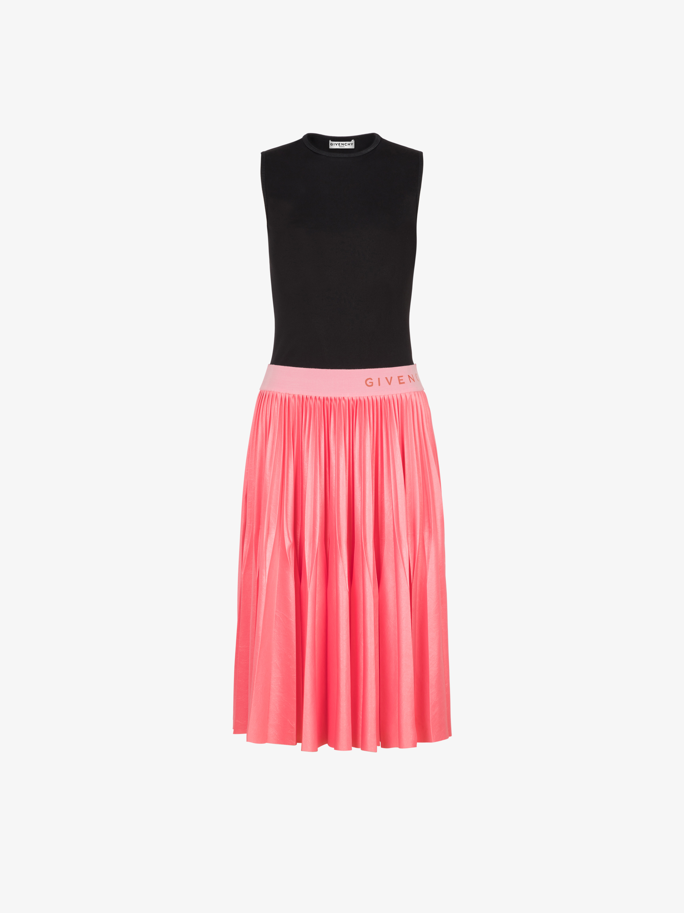 Pleated dress in varnished jersey