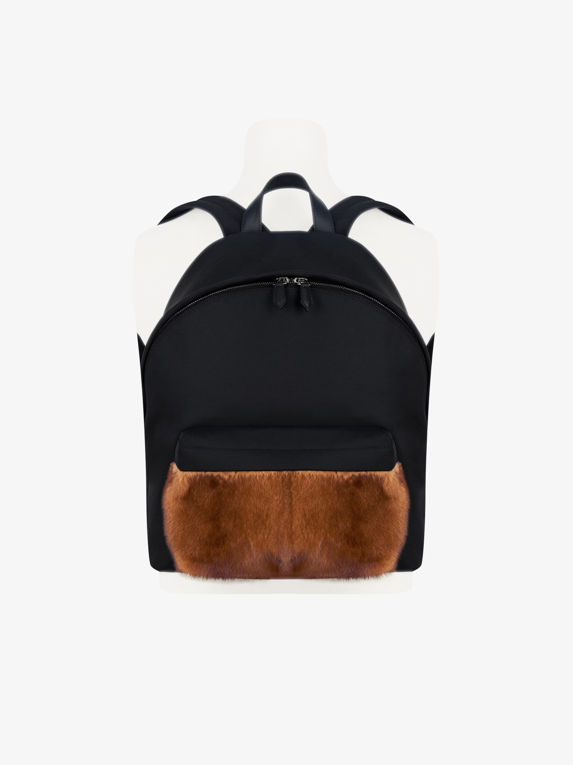 Mink and coated canvas backpack