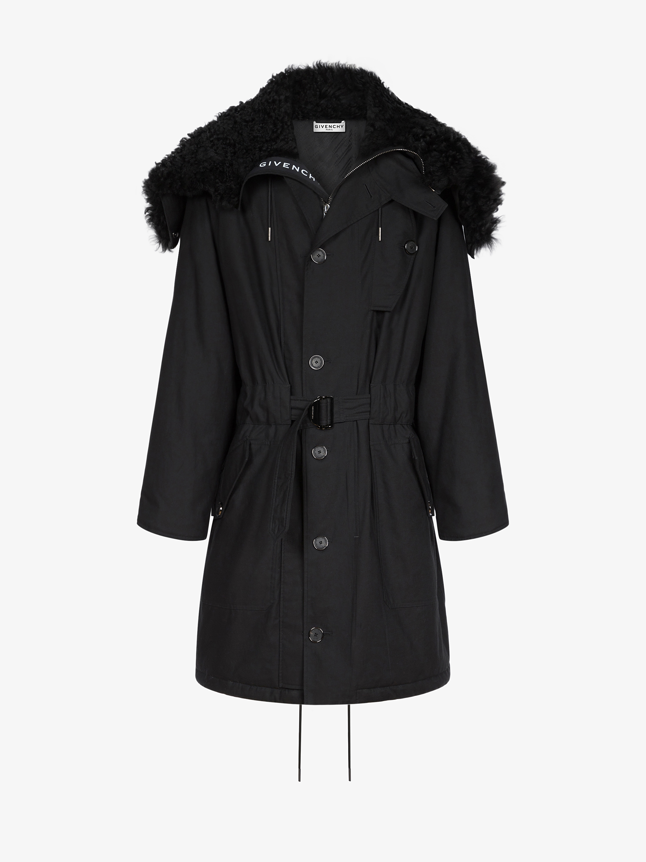 Hooded parka in sheep lining