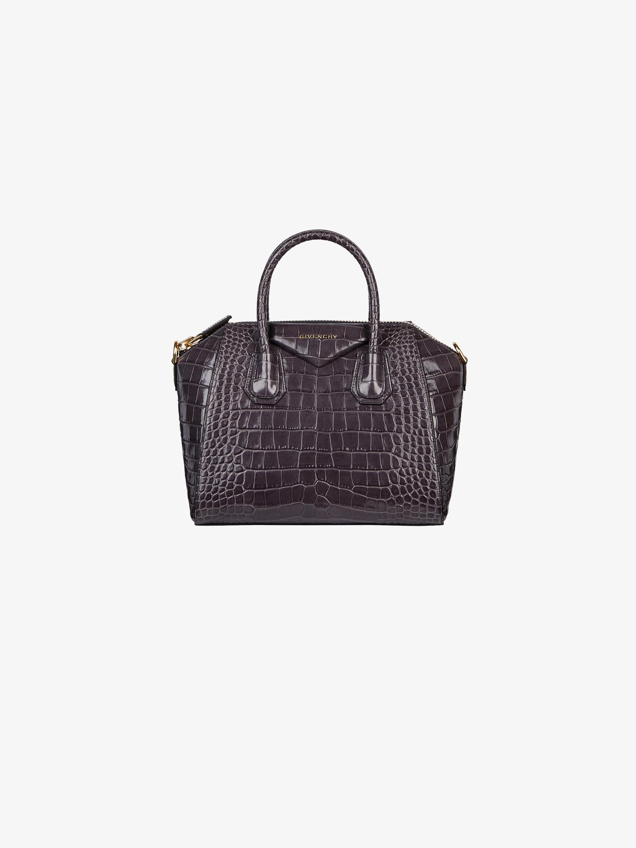 Small Antigona bag in crocodile effect leather