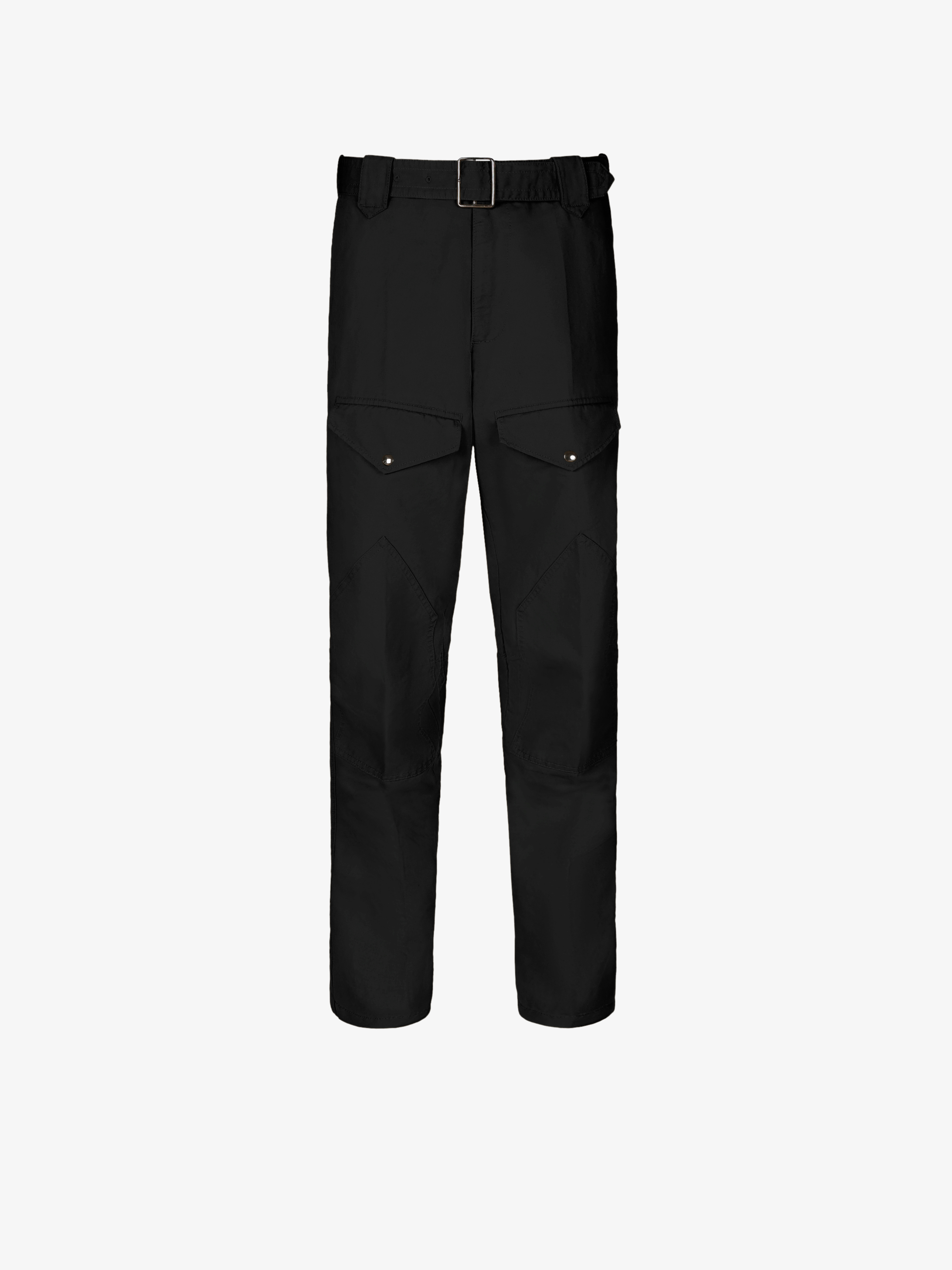Military pants with belt and graphic inserts