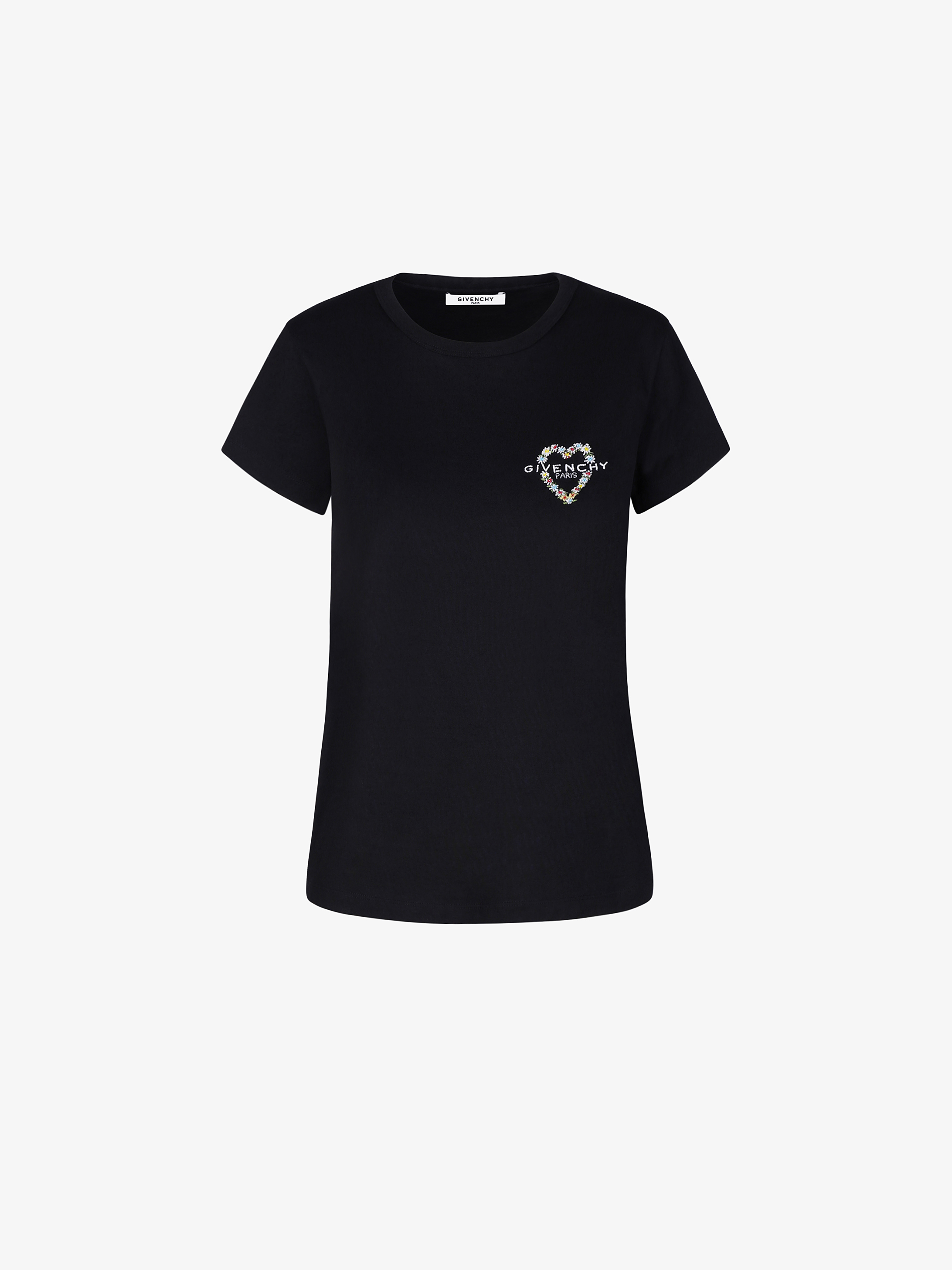 GIVENCHY heart embroidered fitted t-shirt