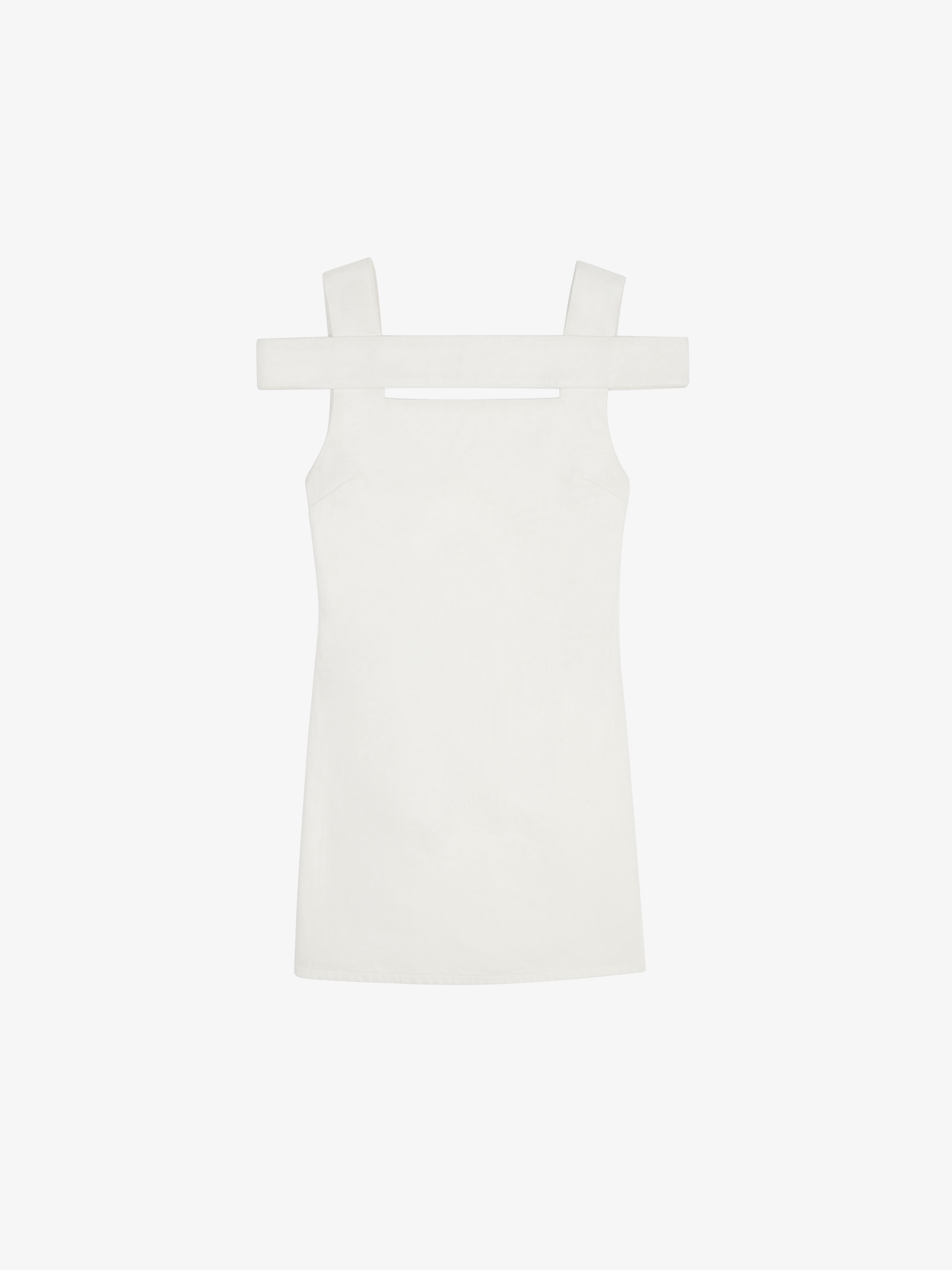 Open-back mini dress in denim