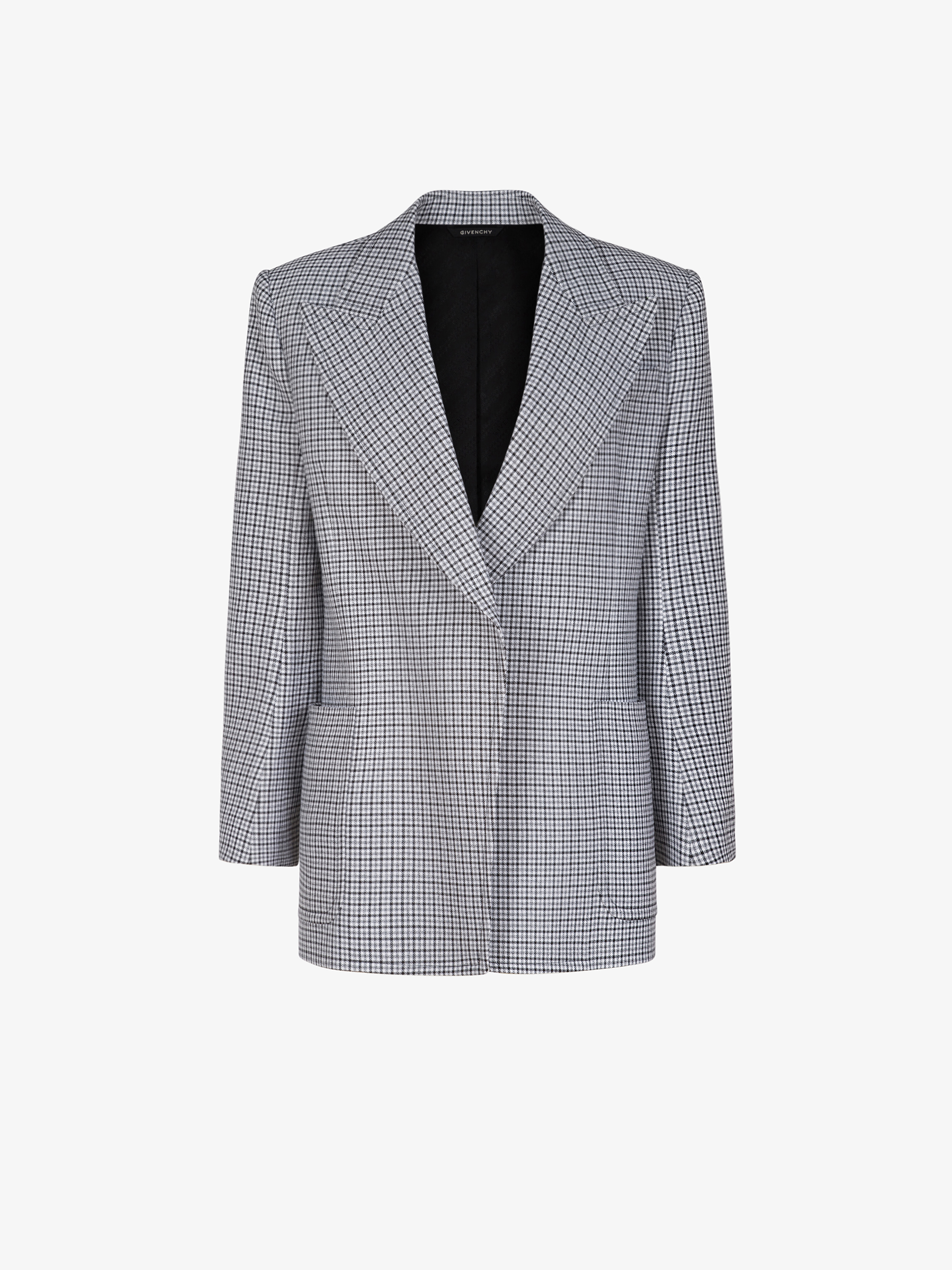 Double breasted jacket in houndstooth wool