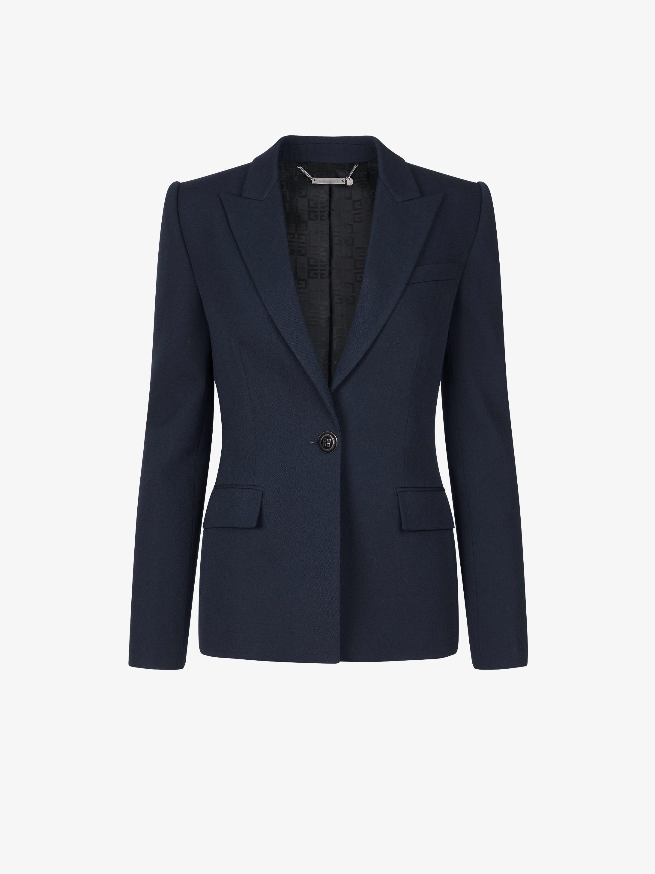 Slim fit jacket in grain de poudre with 4G buttons