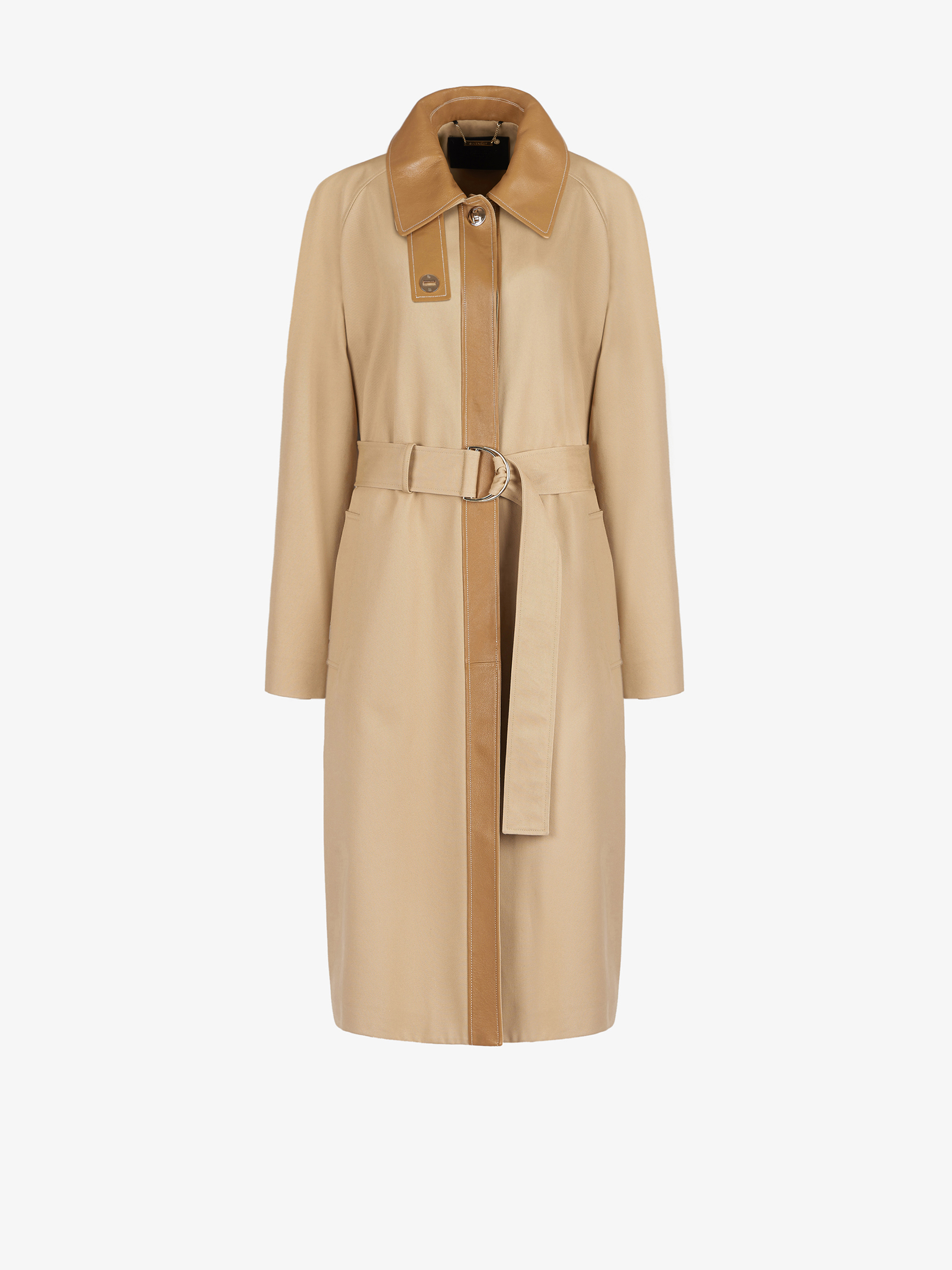 Long masculine trench coat in cotton with leather details