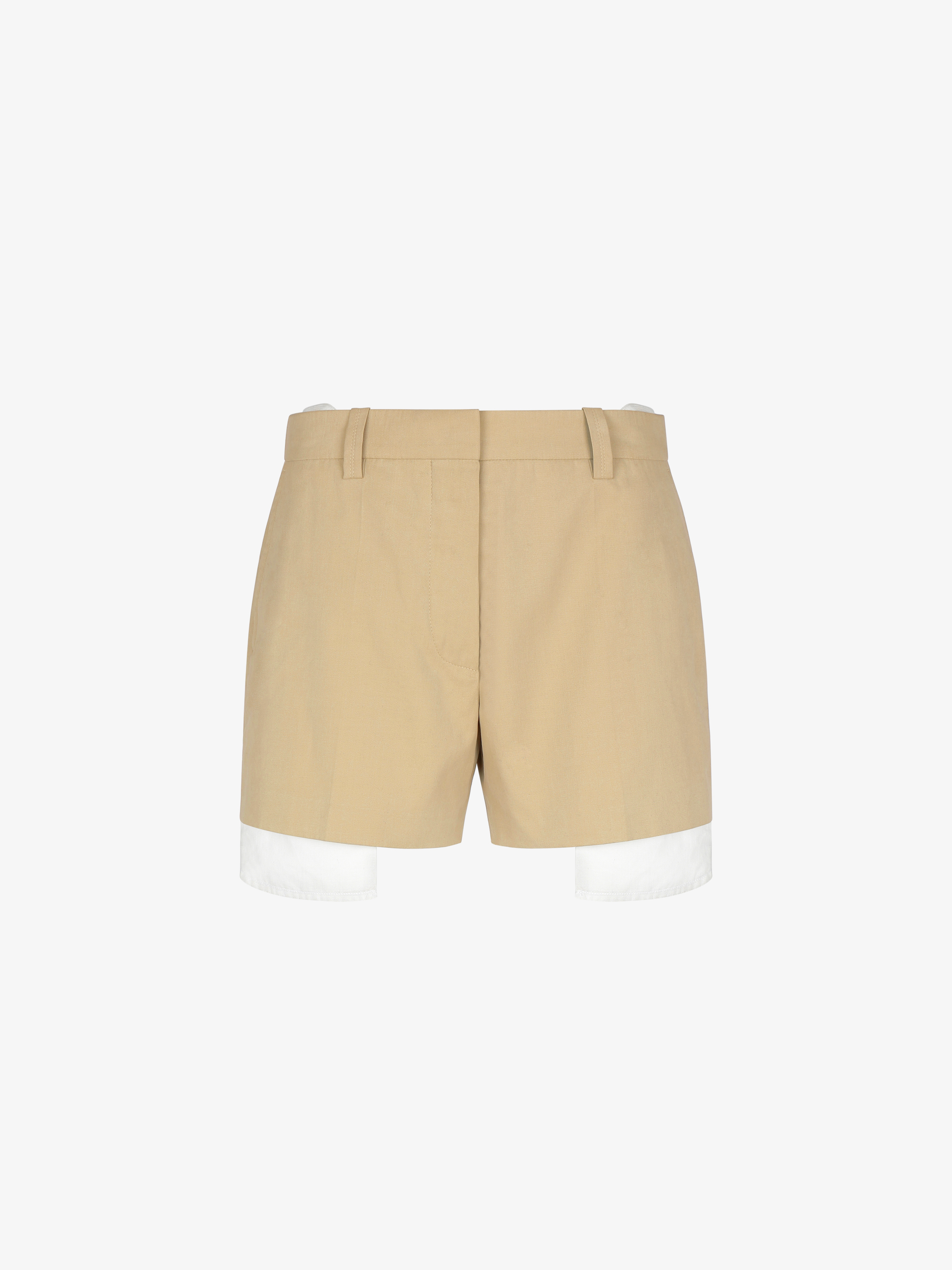 Short in popeline con tasche a vista