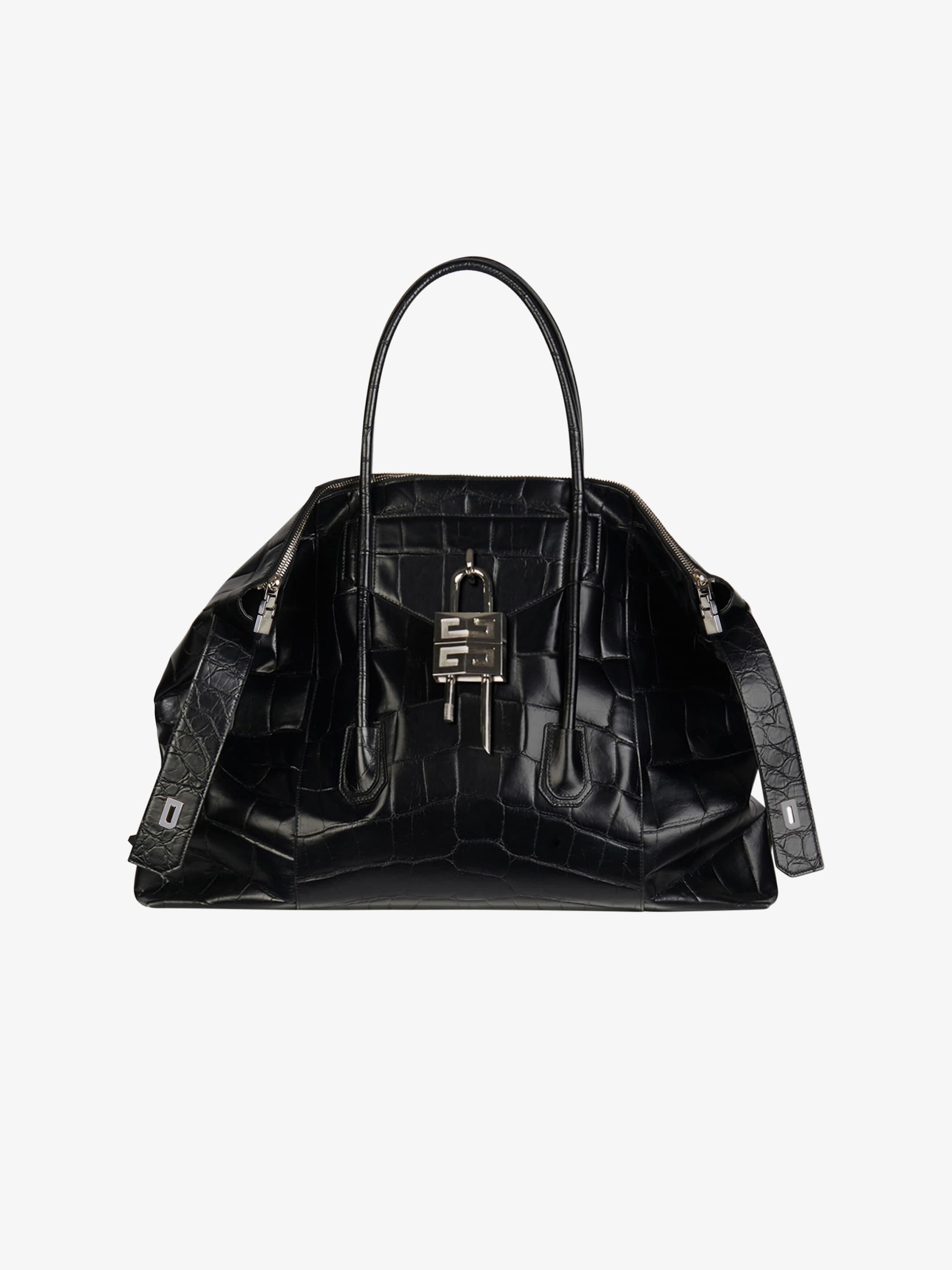 XL Antigona Lock Soft bag in crocodile effect leather