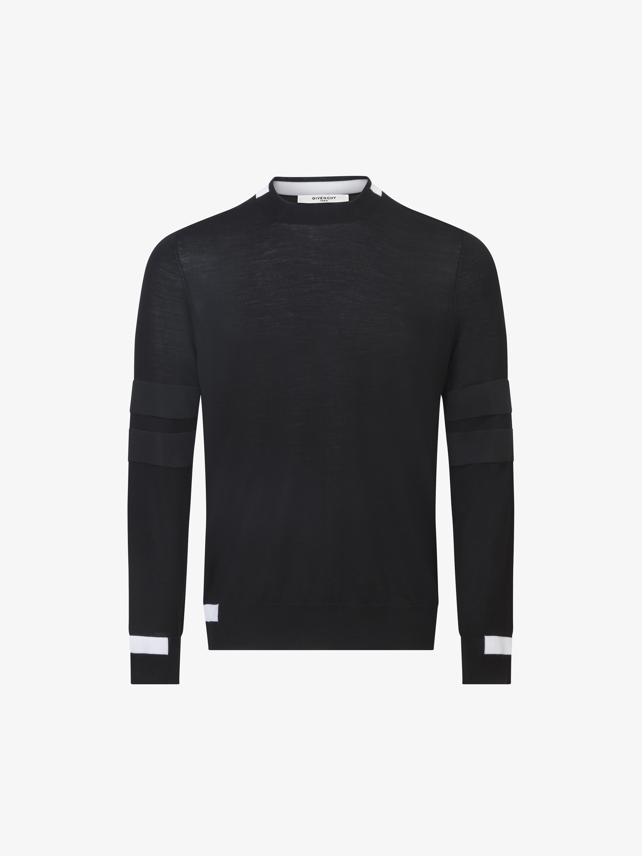 Contrasting details jumper in wool