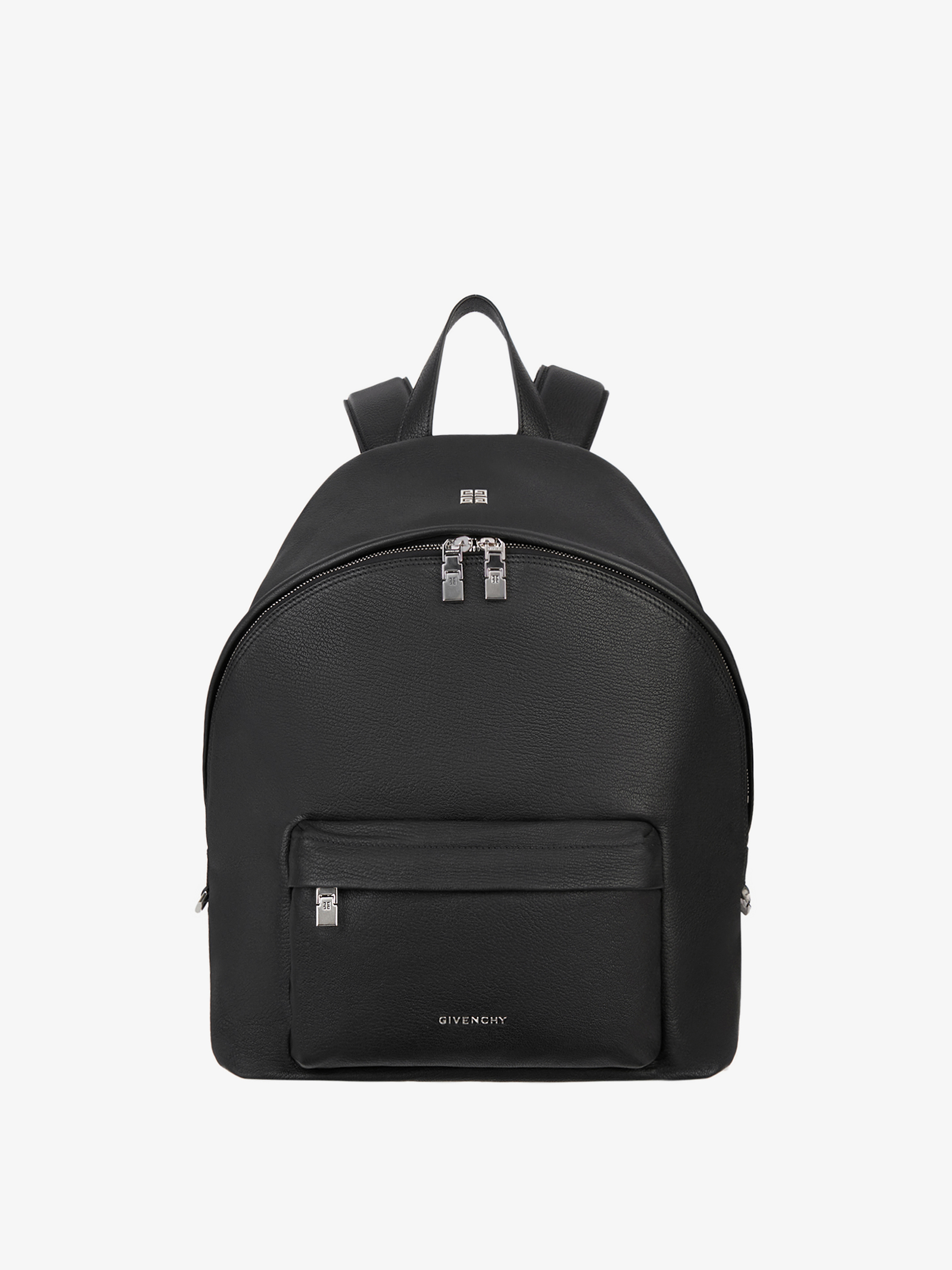 Double U backpack in grained leather