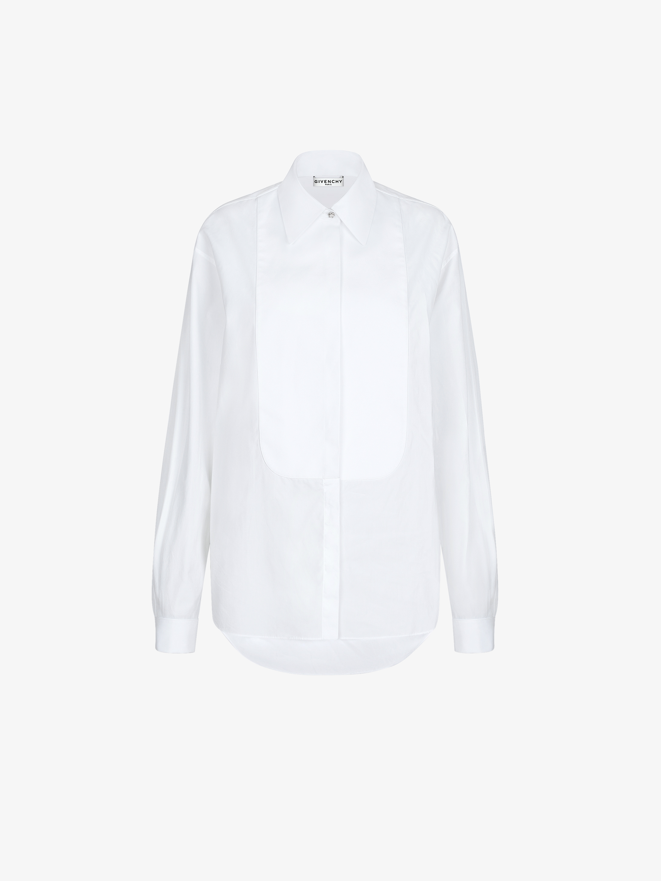 Shirt in poplin with plastron and jewels buttons