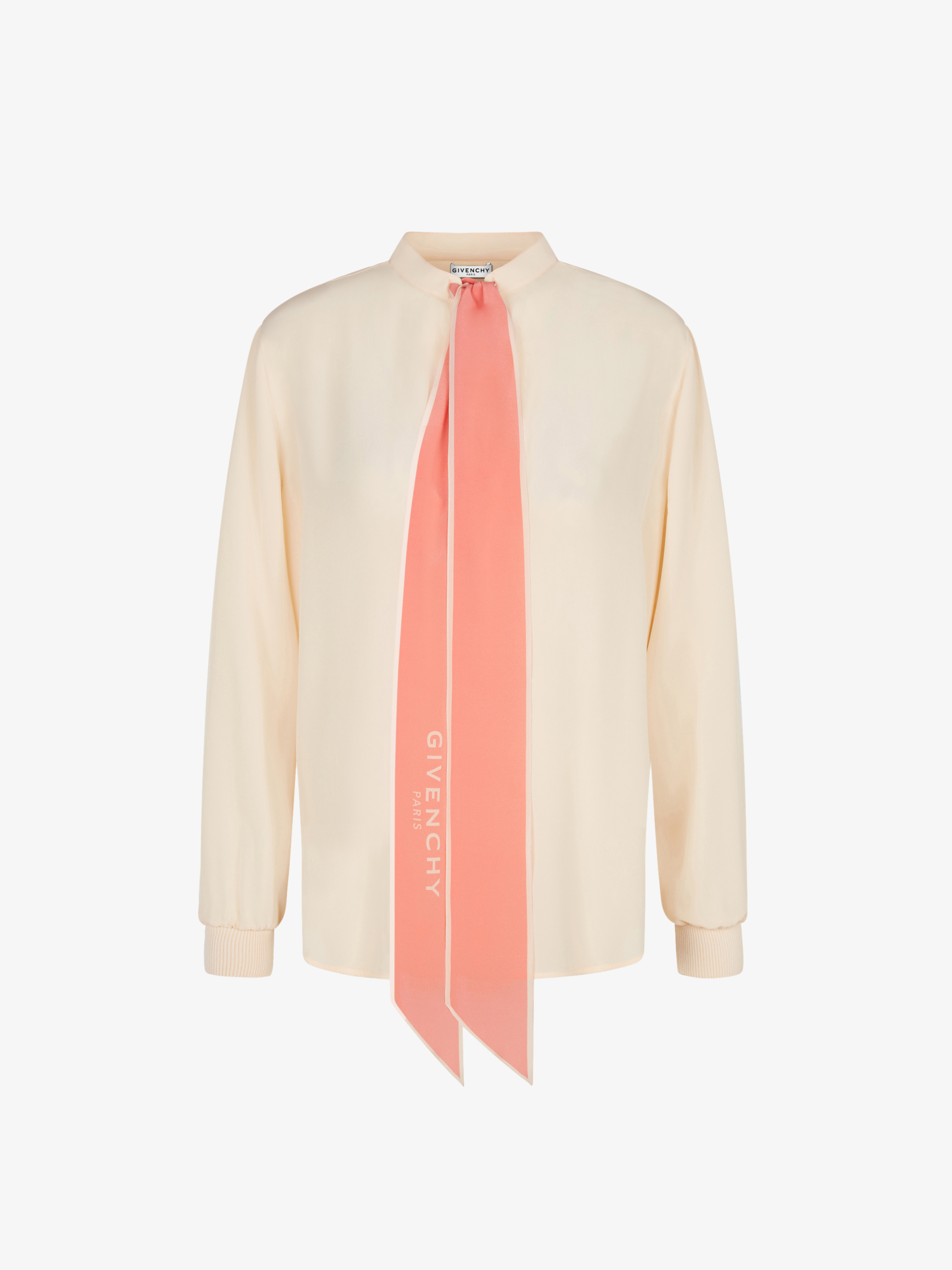 Blouse in silk with scarf collar