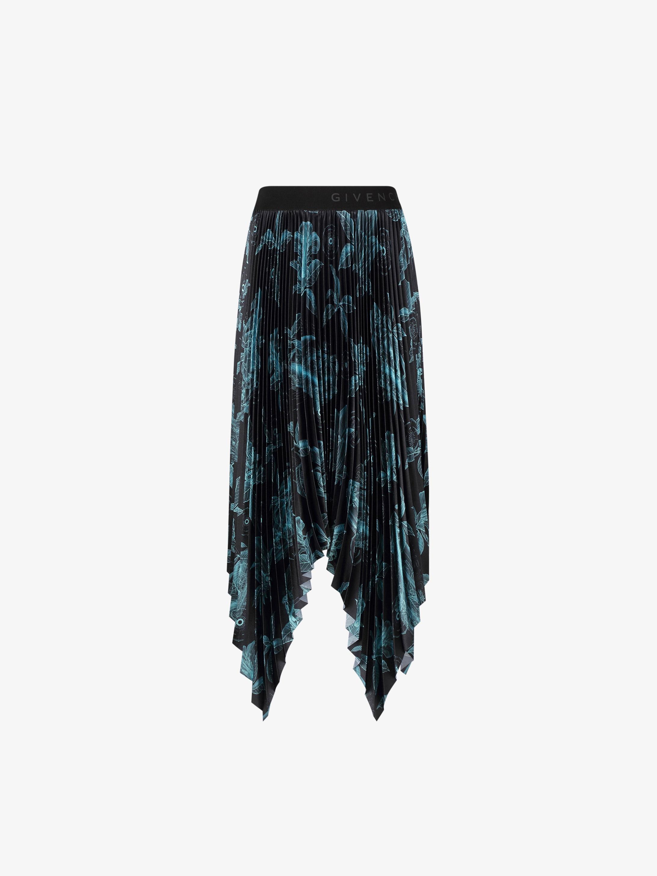 Floral Schematics pleated skirt