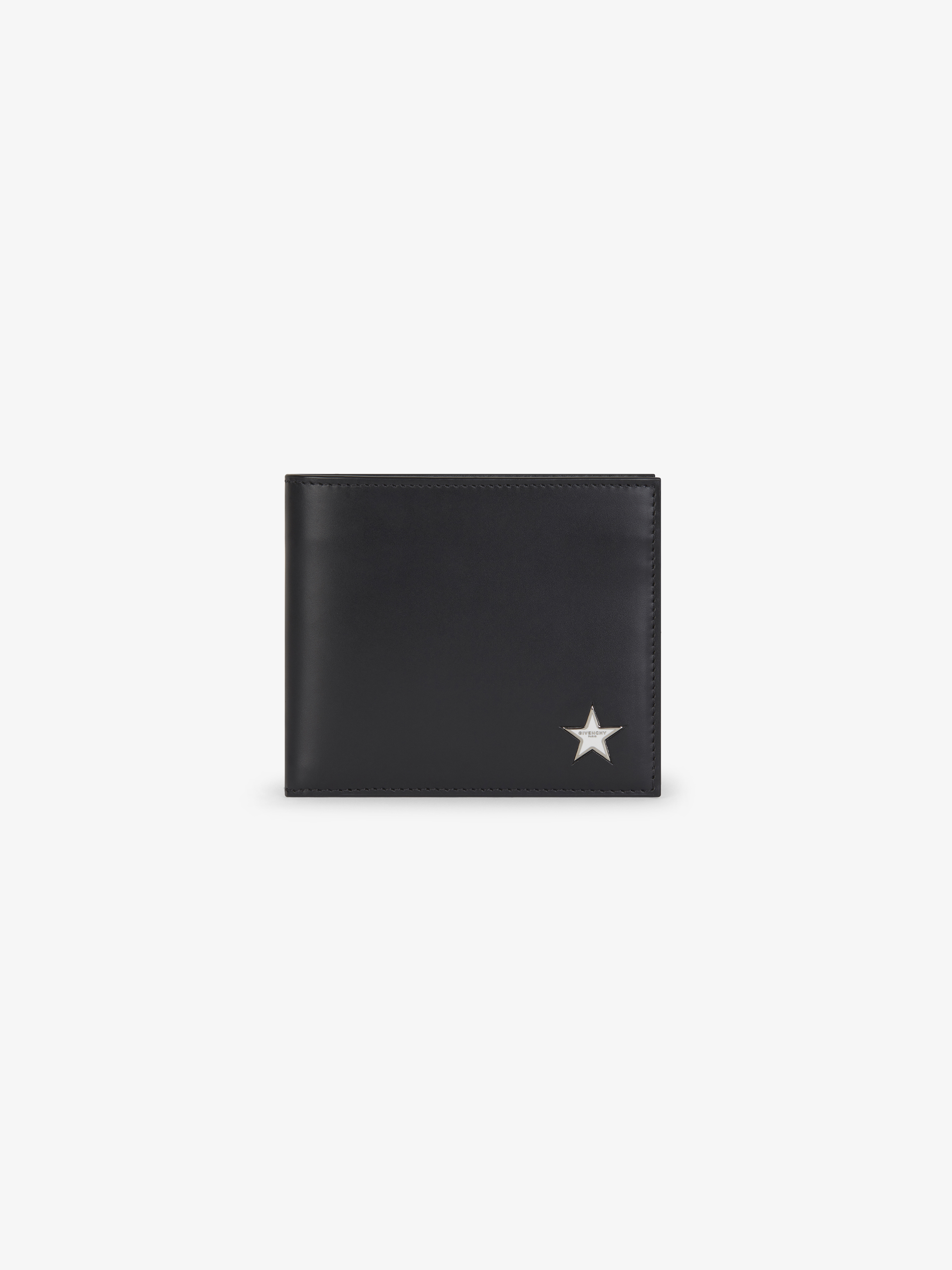 Metallic star leather wallet