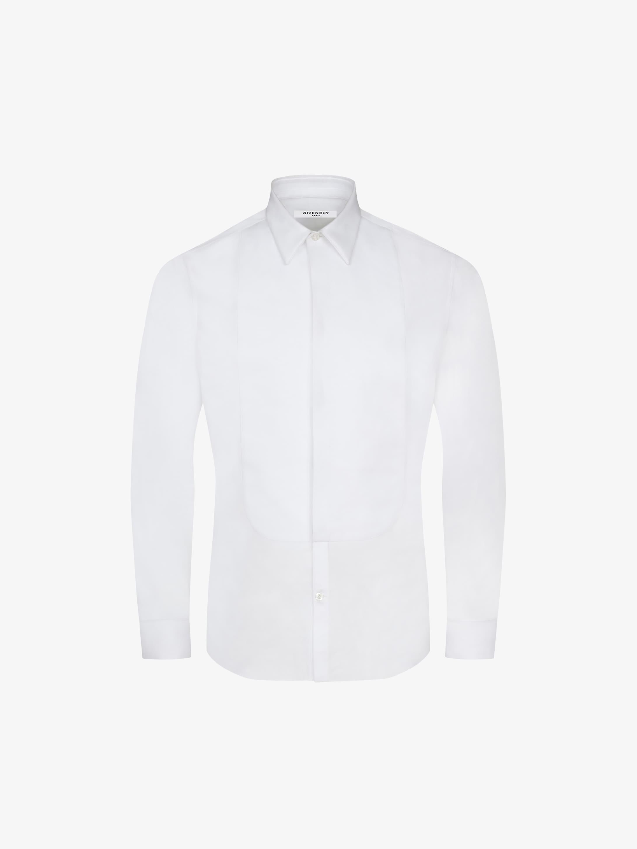 Poplin plastron slim shirt