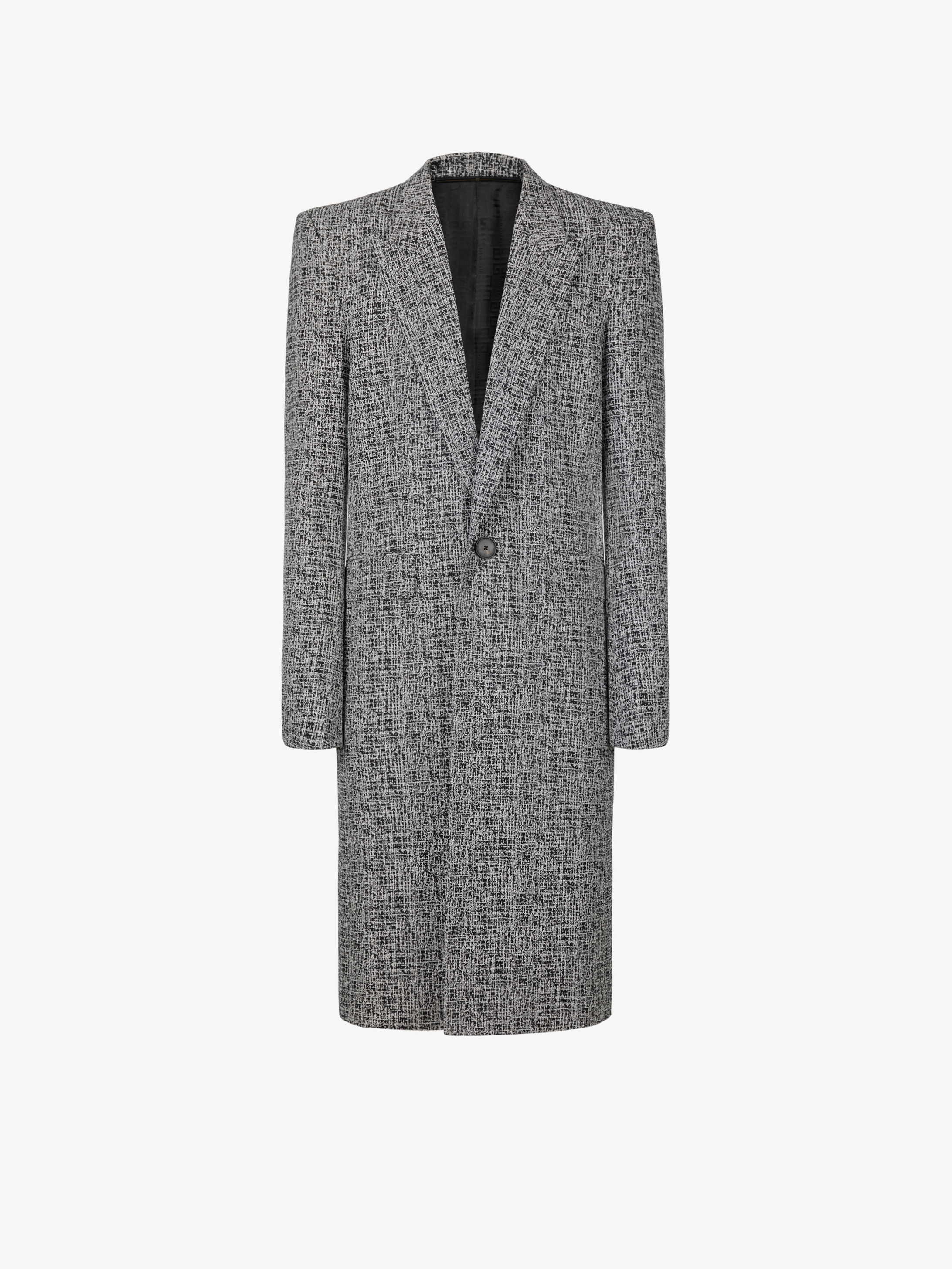 Long jacquard coat in wool and cotton