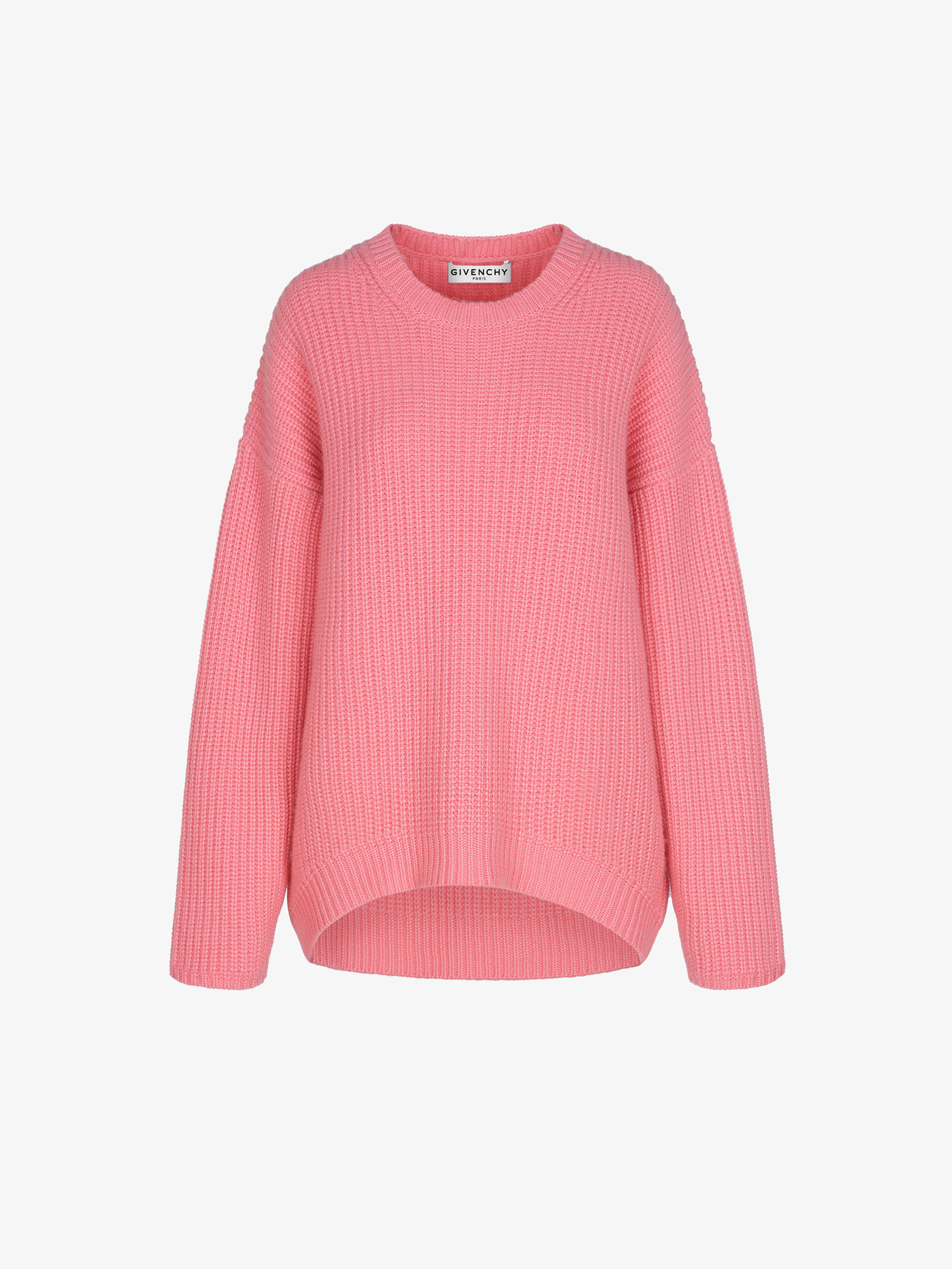 Oversized sweater in ribbed cashmere