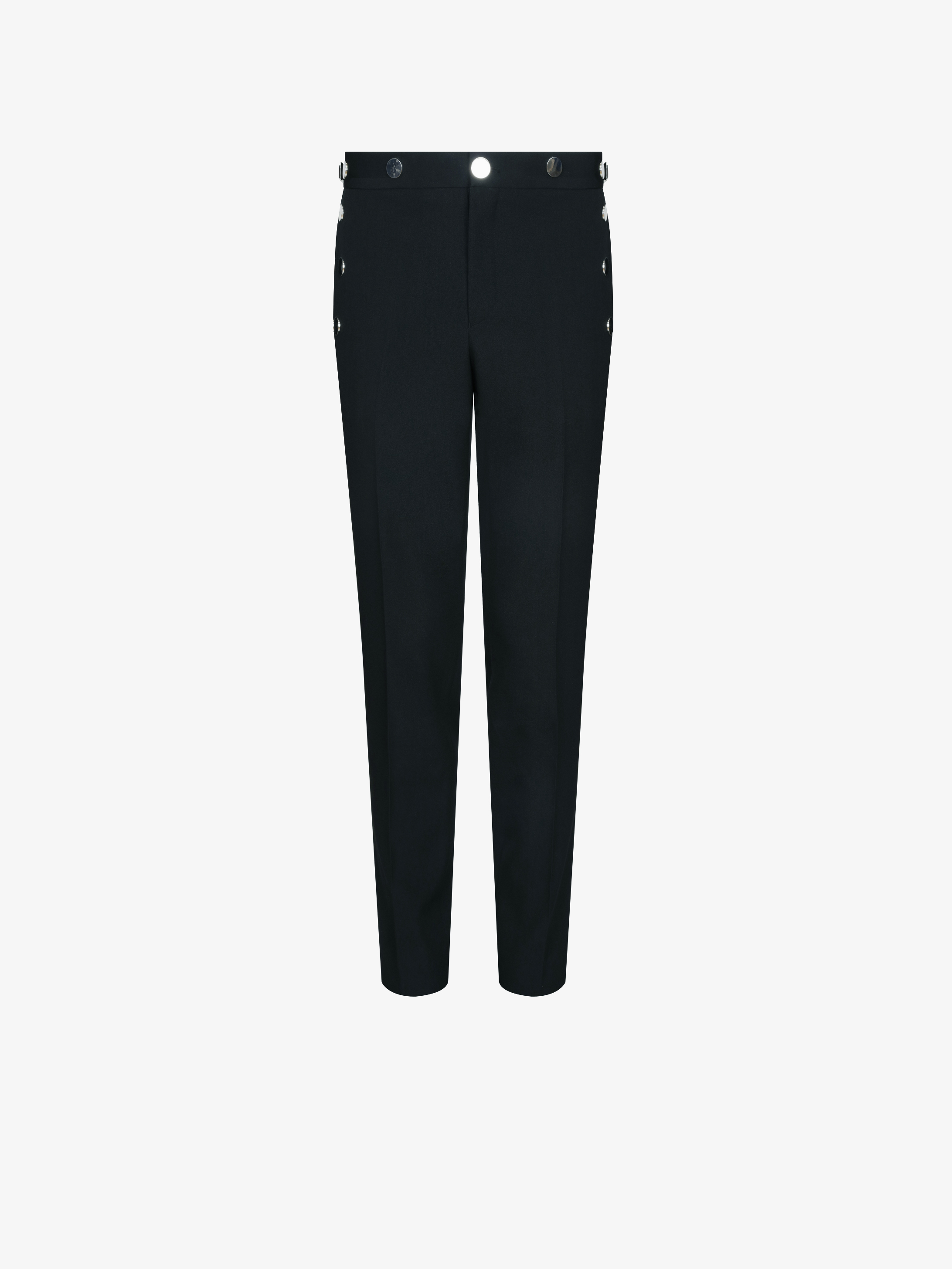 Slim fit trousers with metallic details