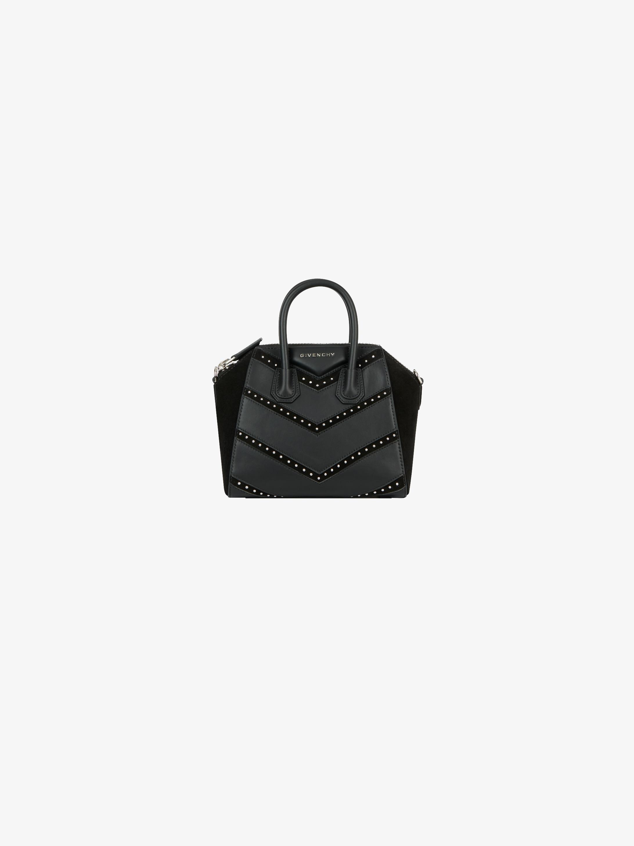 Mini Antigona bag in leather and suede