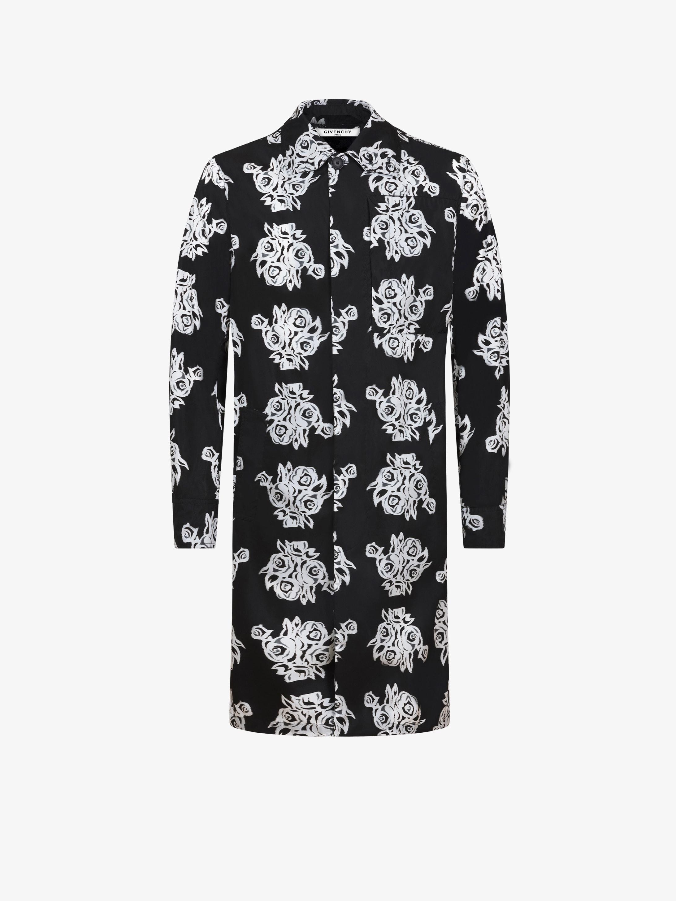 Flower printed carcoat