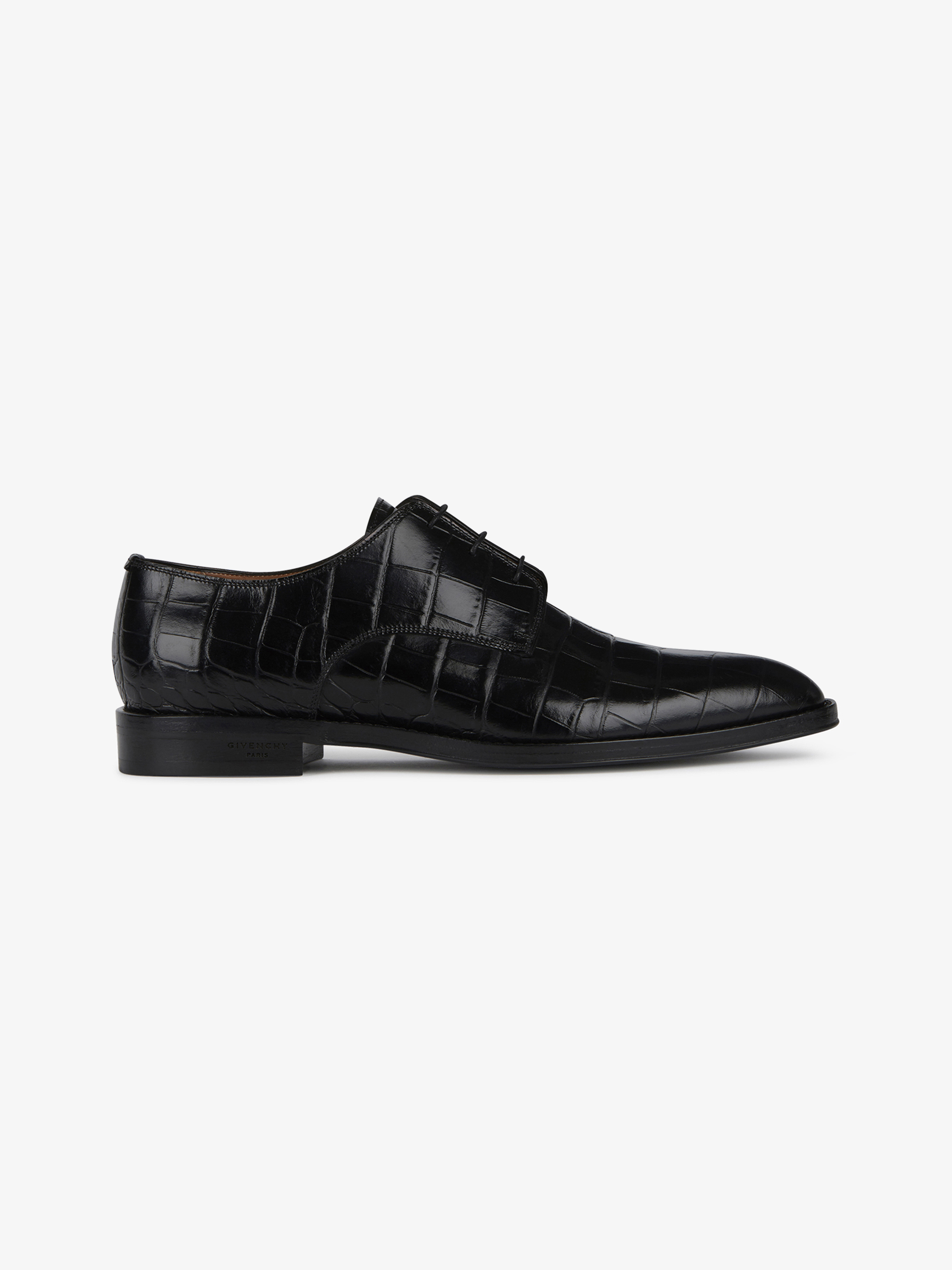 Crocodile embossed derby shoes