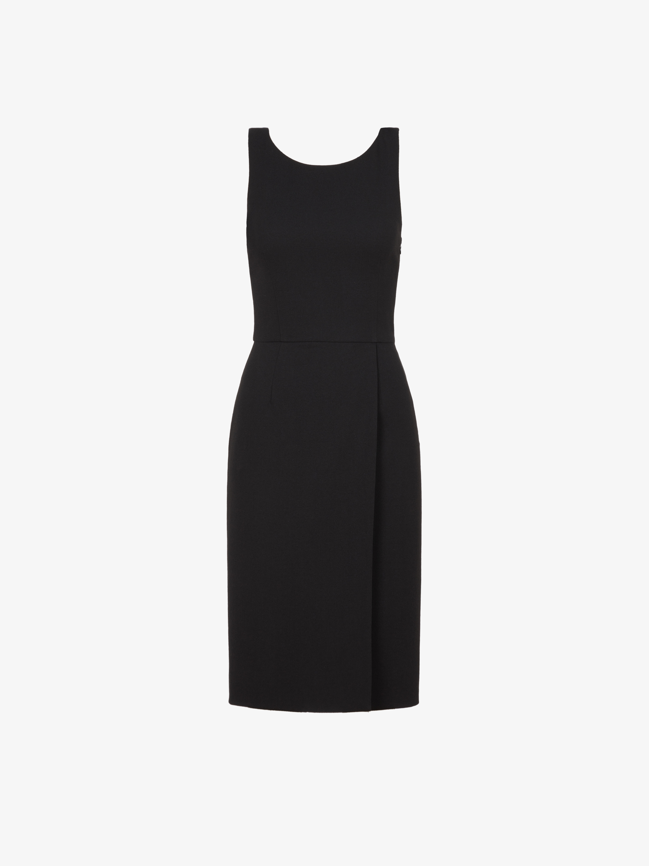 Short dress in wool crepe with graphic neckline